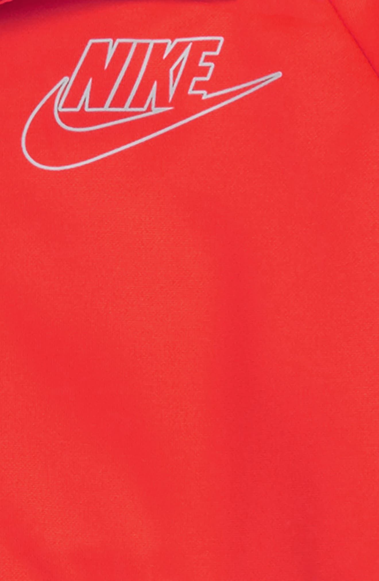 NIKE, Colorblock Zip Front Hoodie, Alternate thumbnail 2, color, LT CRIMSON/ CHAR HEATHER