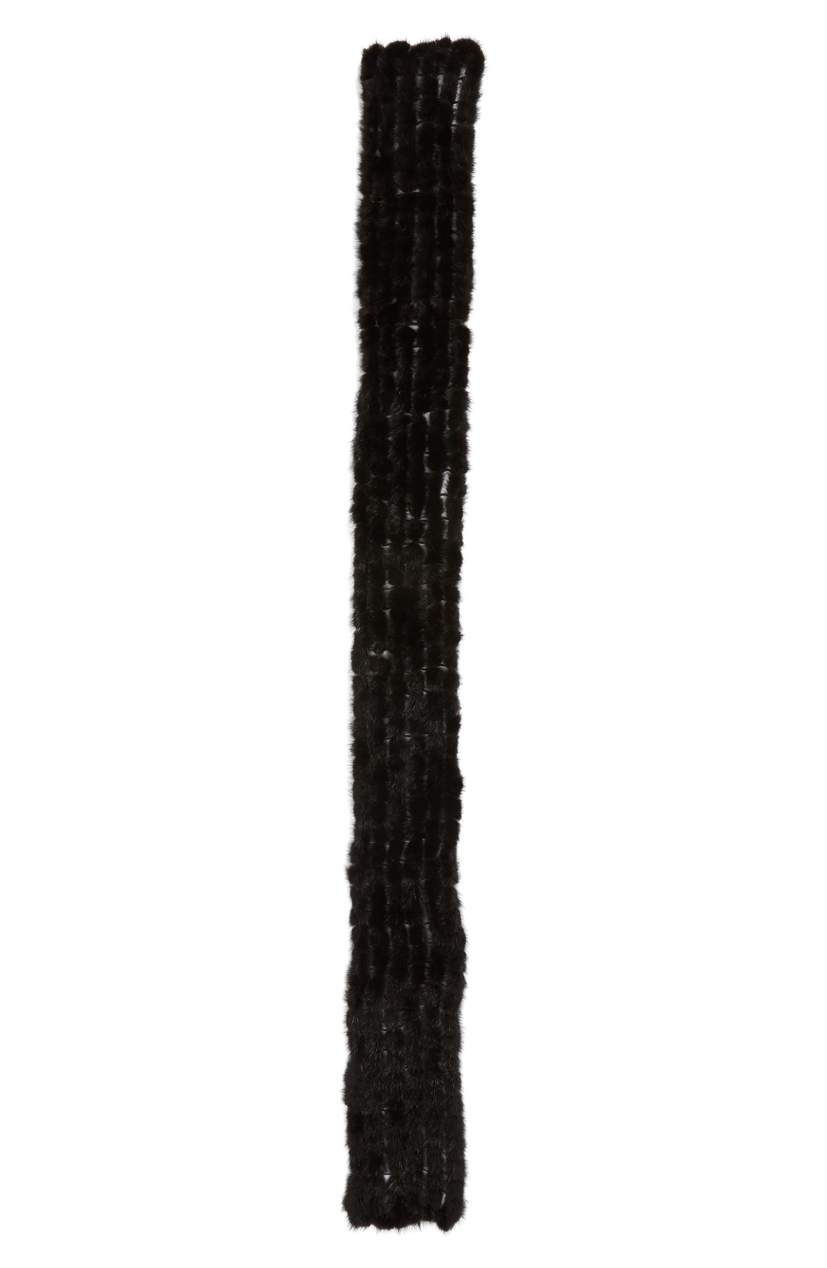 LA FIORENTINA, Balled Genuine Mink Fur Muffler, Alternate thumbnail 3, color, 001