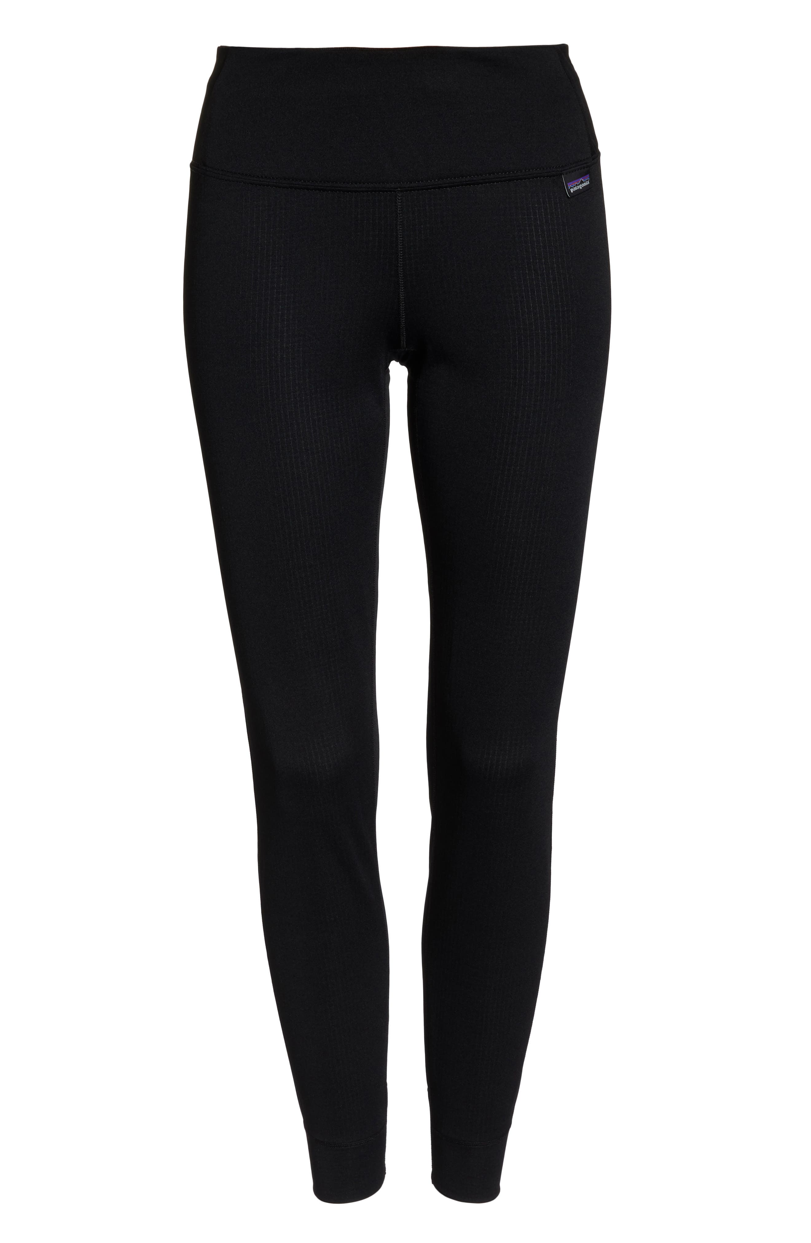 PATAGONIA, Capilene Midweight Base Layer Tights, Alternate thumbnail 7, color, BLACK