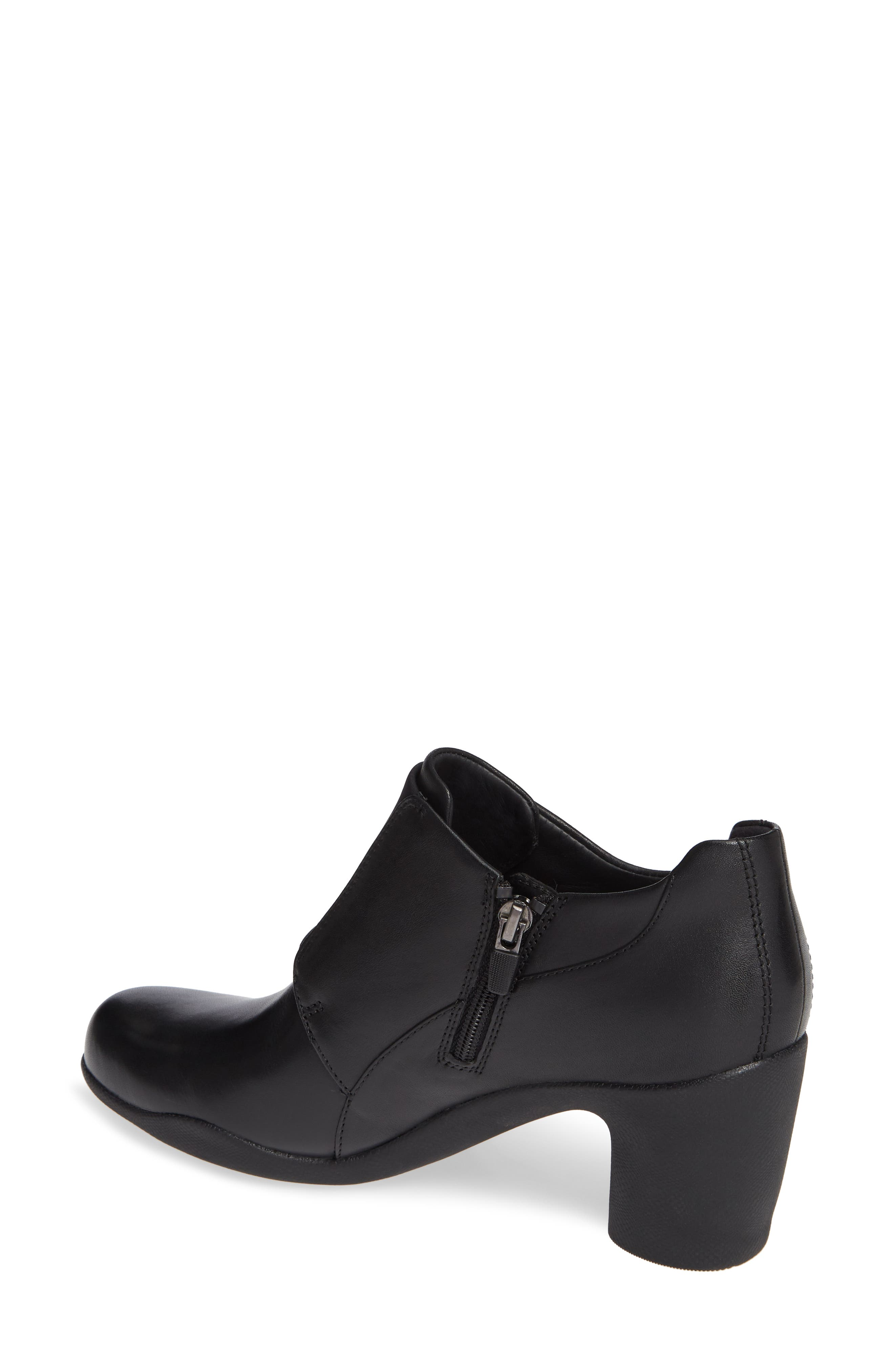 CLARKS<SUP>®</SUP>, Un Rosa Zip Bootie, Alternate thumbnail 2, color, BLACK LEATHER