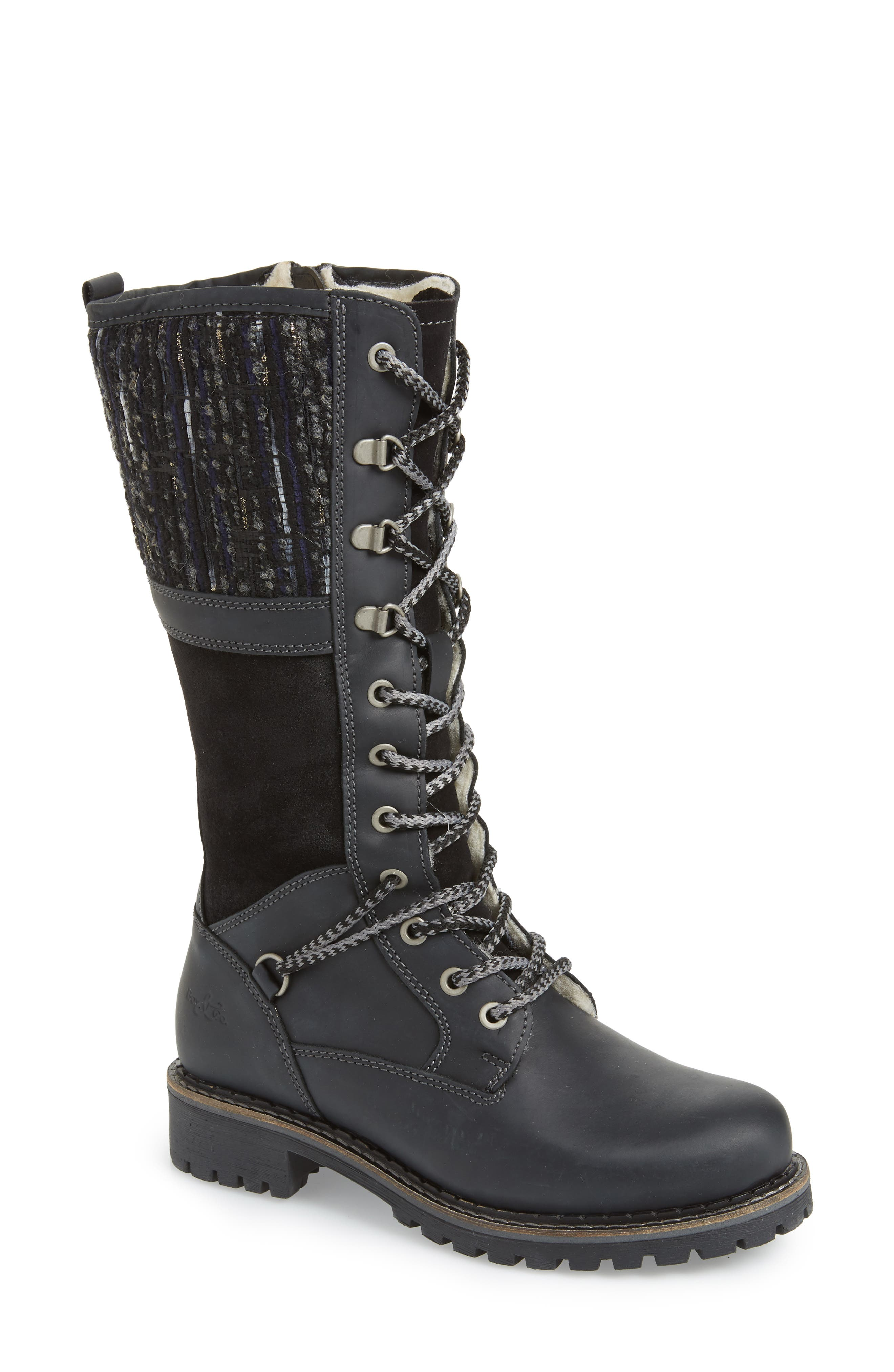 BOS. & CO., Holland Waterproof Boot, Main thumbnail 1, color, BLACK OIL SUEDE