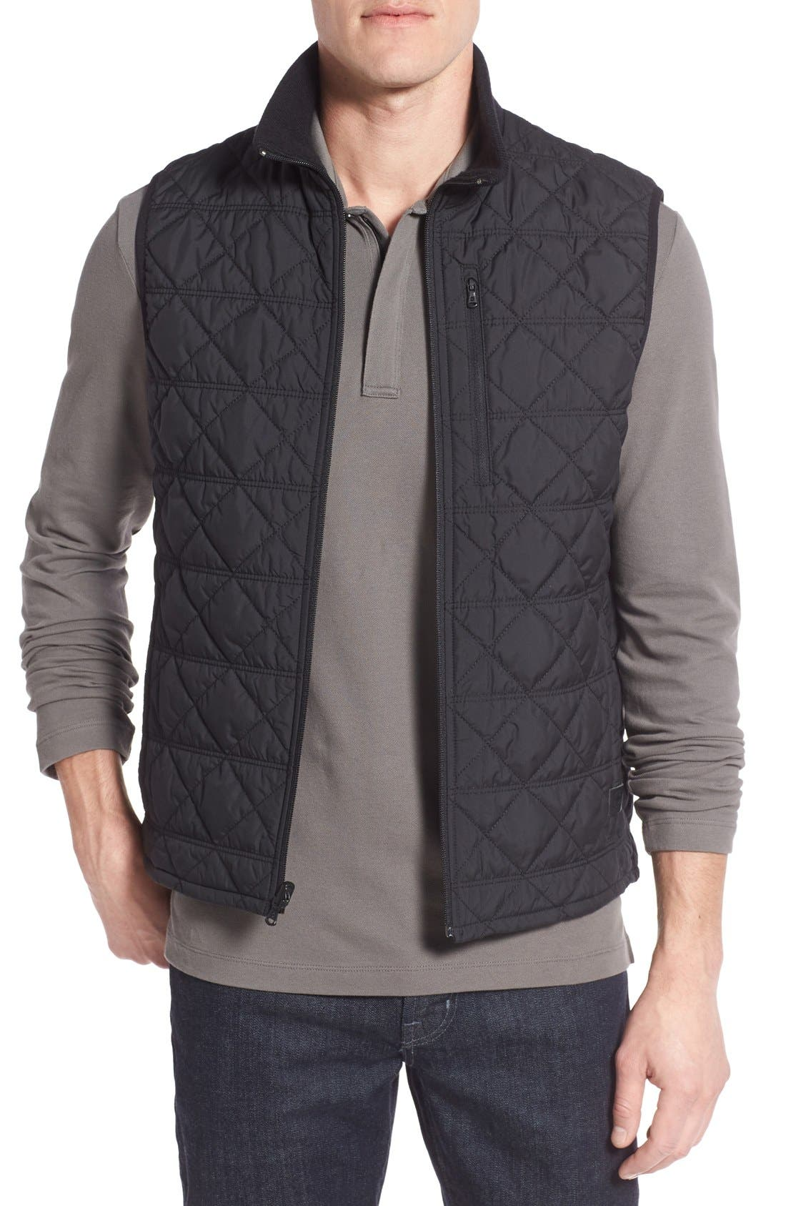VICTORINOX SWISS ARMY<SUP>®</SUP>, Quilted Matterhorn II Water Repellent Vest, Main thumbnail 1, color, 001
