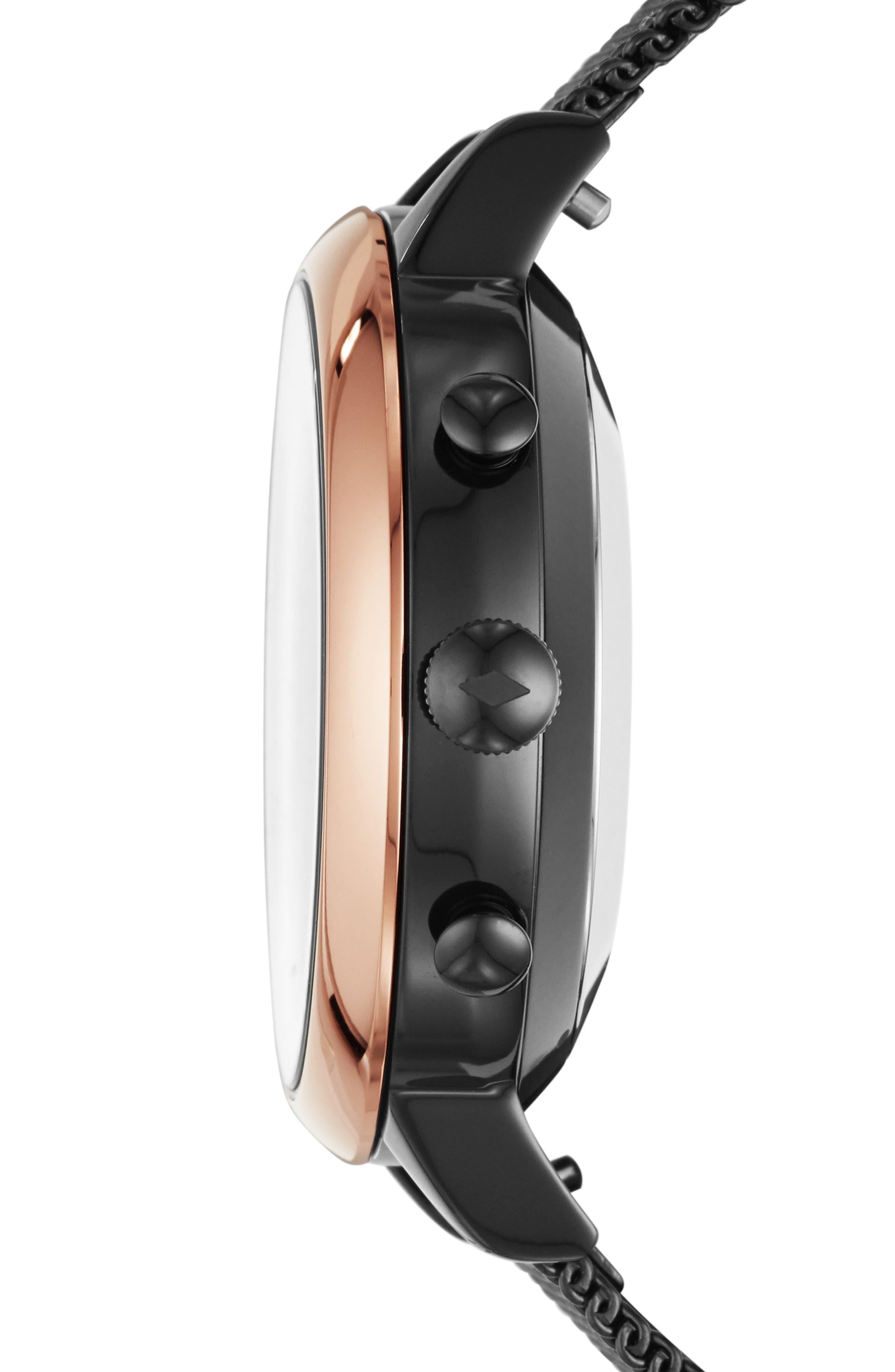 FOSSIL Q, Jacqueline Mesh Strap Hybrid Smart Watch, 36mm, Alternate thumbnail 3, color, BLACK/ ROSE GOLD