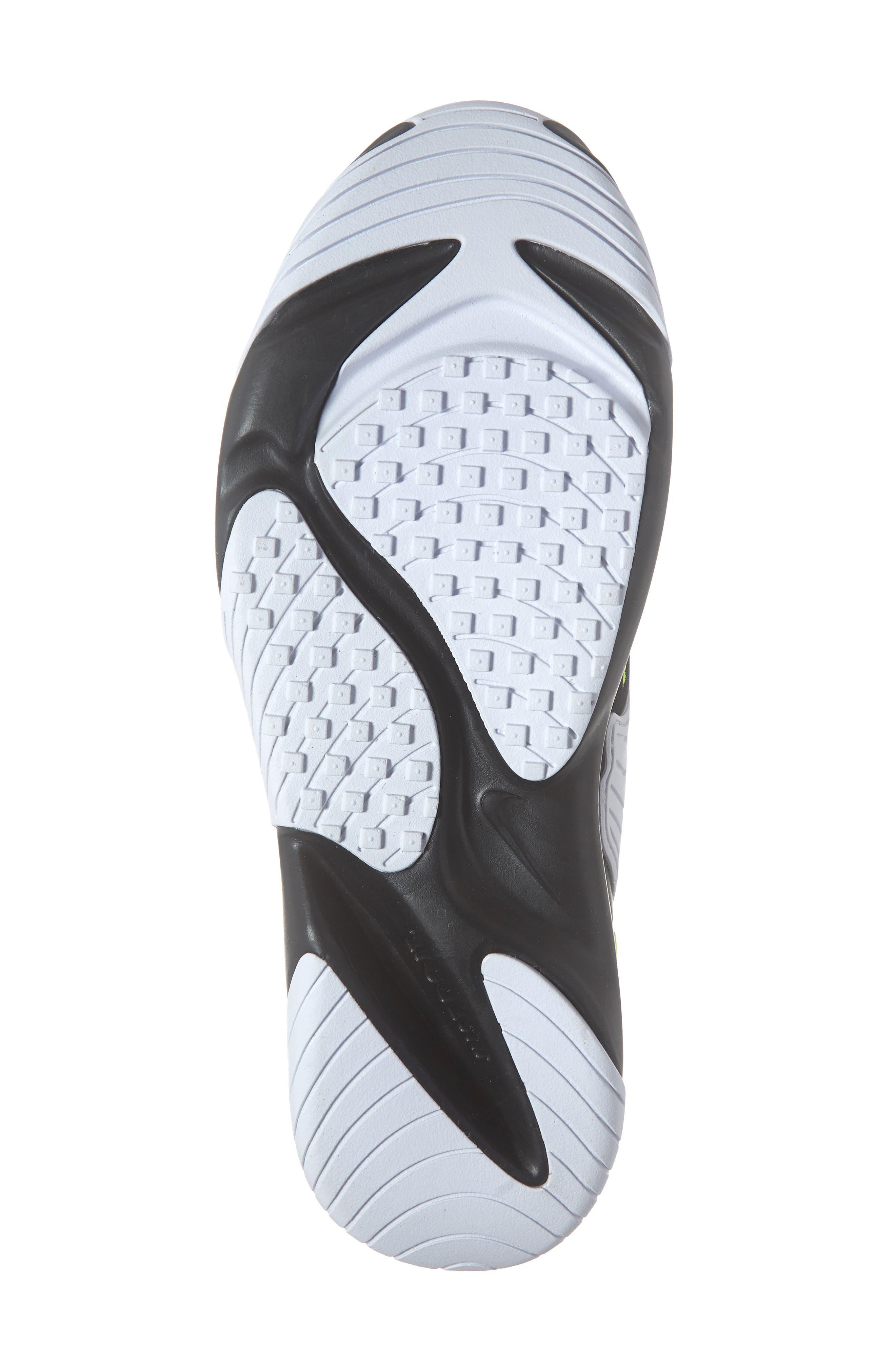 NIKE, Zoom 2K Sneaker, Alternate thumbnail 6, color, BLACK/ VOLT/ WHITE