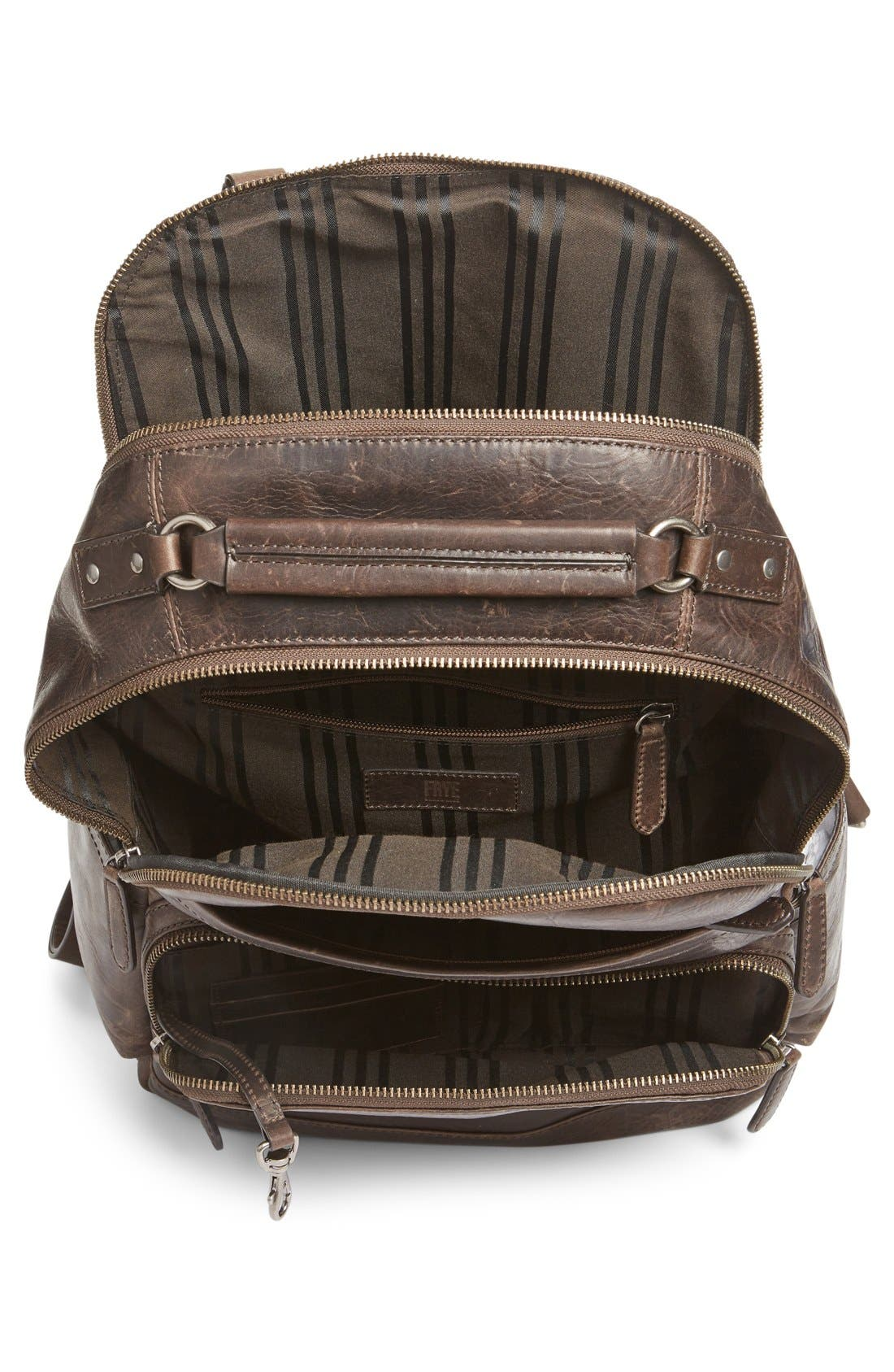 FRYE, 'Logan' Leather Backpack, Alternate thumbnail 6, color, SLATE