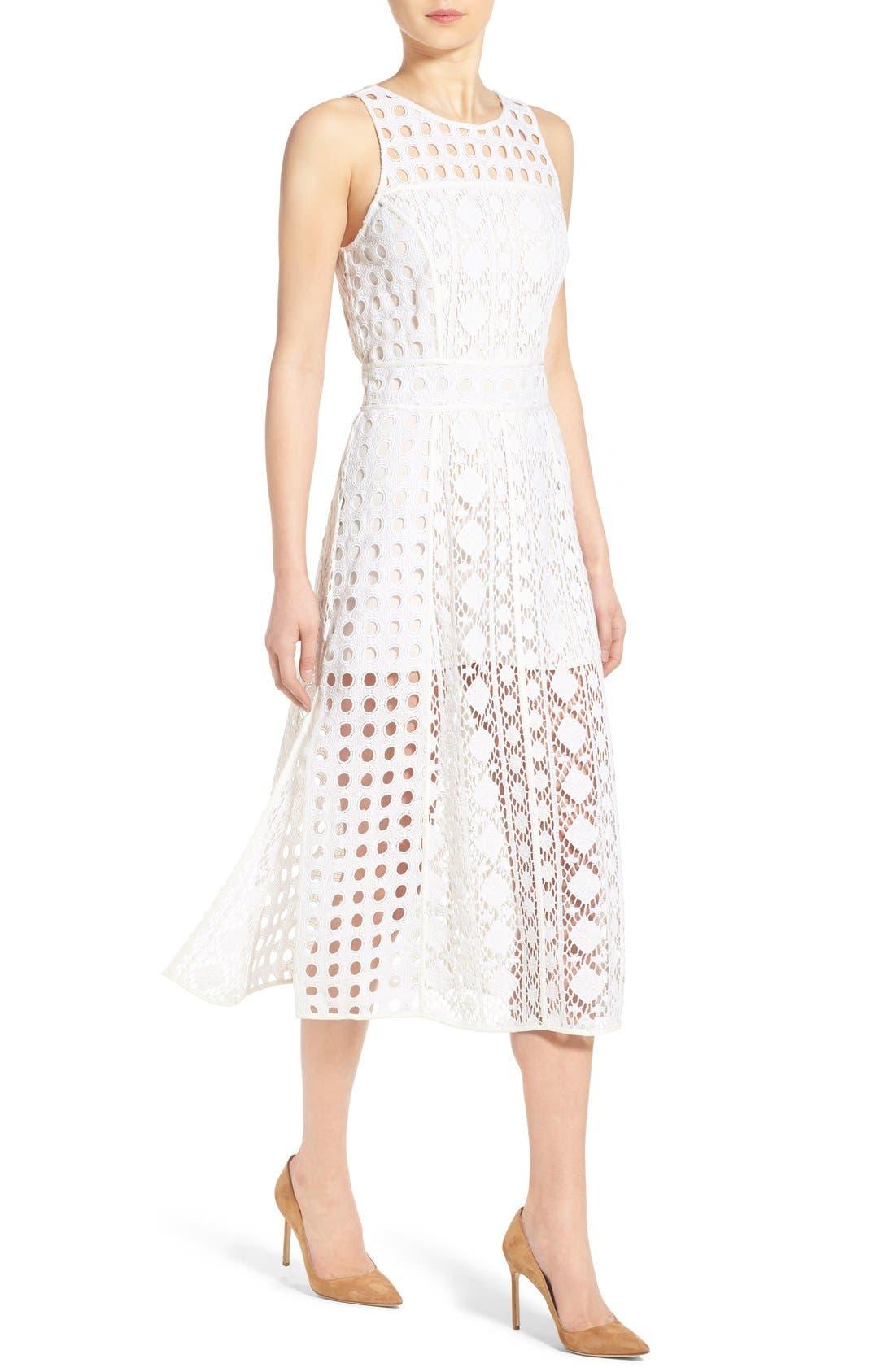 OLIVIA PALERMO + CHELSEA28, Patchwork Lace Midi Dress, Alternate thumbnail 3, color, 100