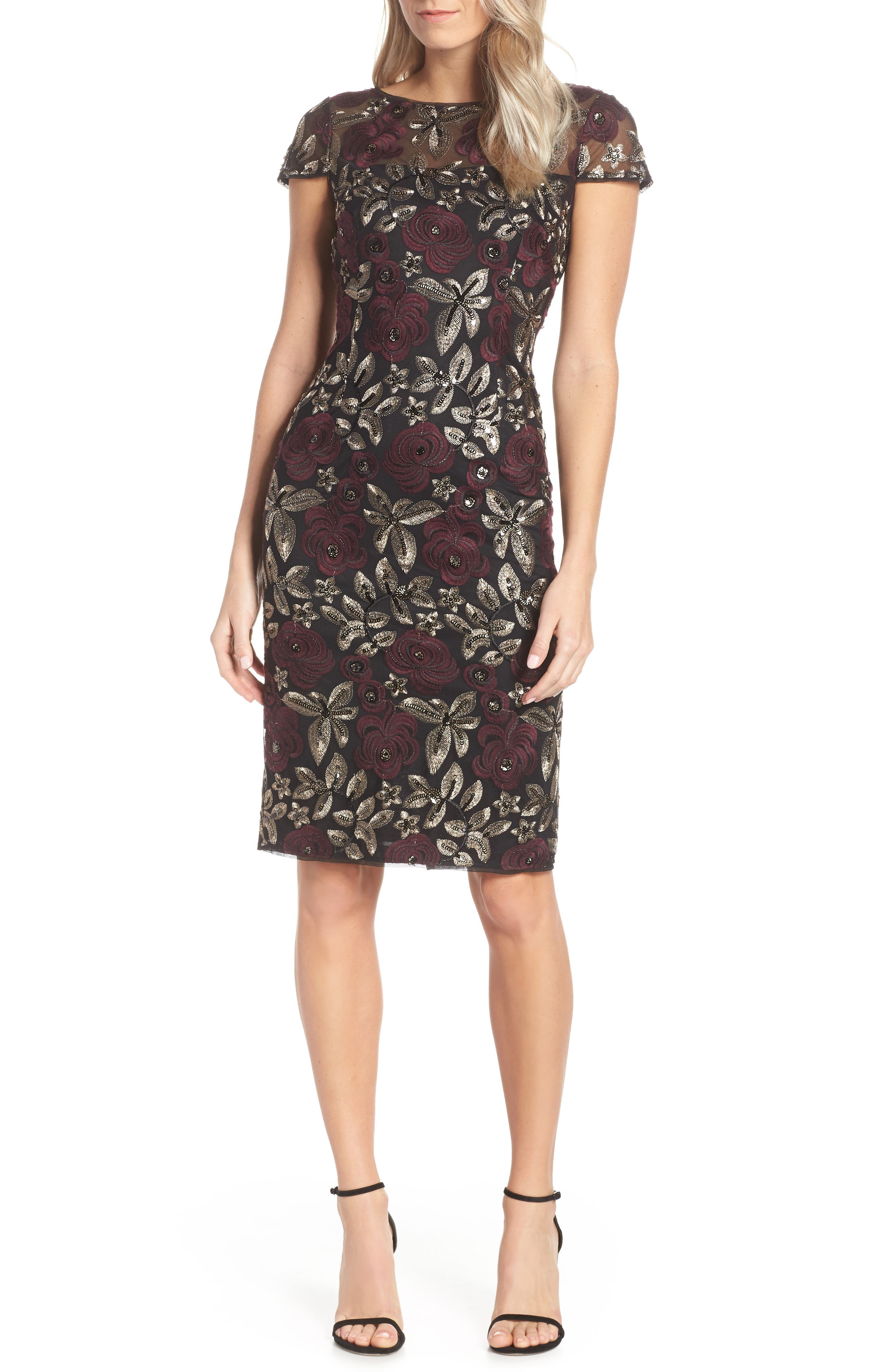 ADRIANNA PAPELL, Sequin Embroidered Cocktail Dress, Main thumbnail 1, color, 930
