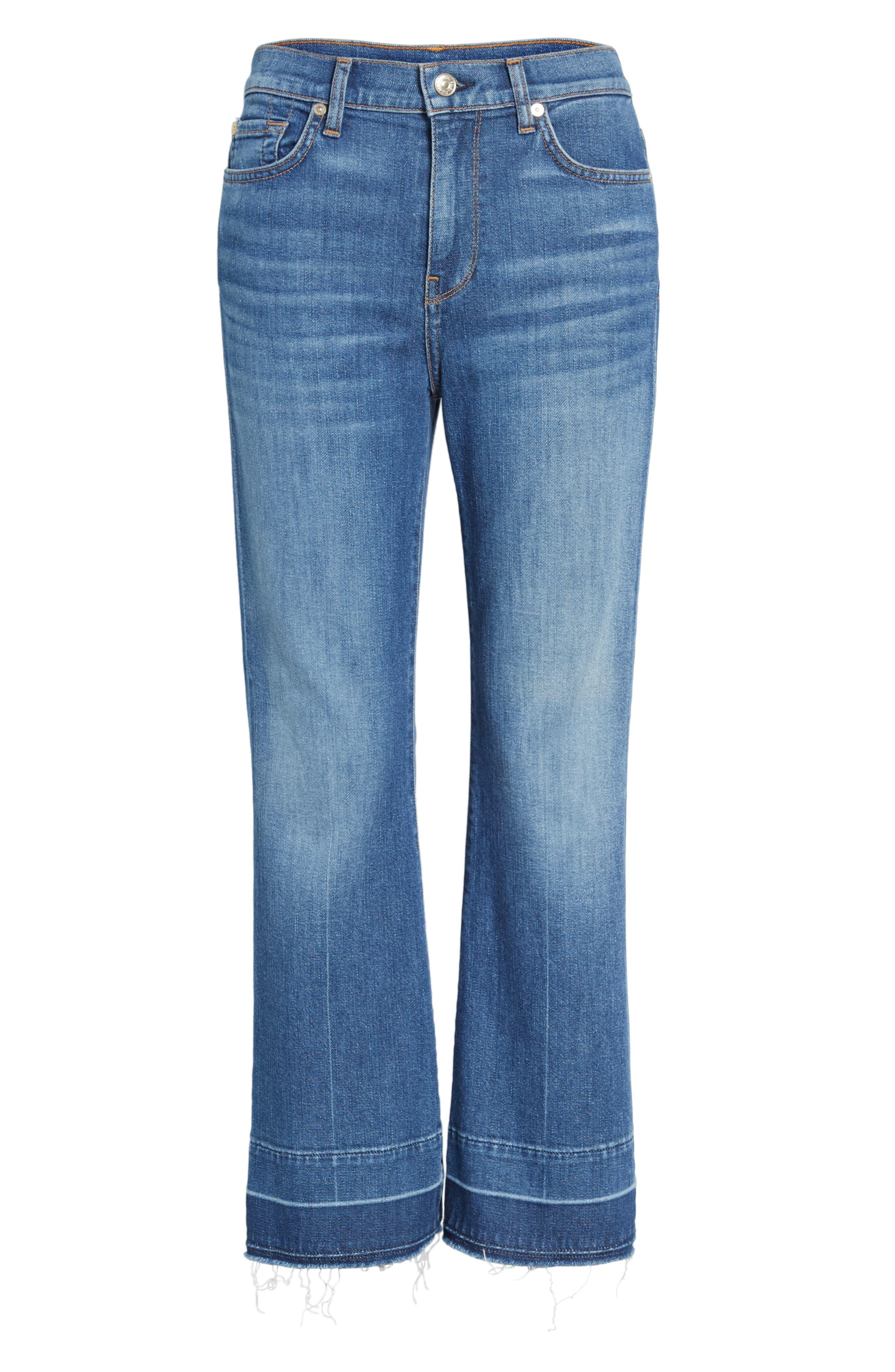 7 FOR ALL MANKIND<SUP>®</SUP>, Ali Split Hem Crop Flare Jeans, Alternate thumbnail 6, color, 401