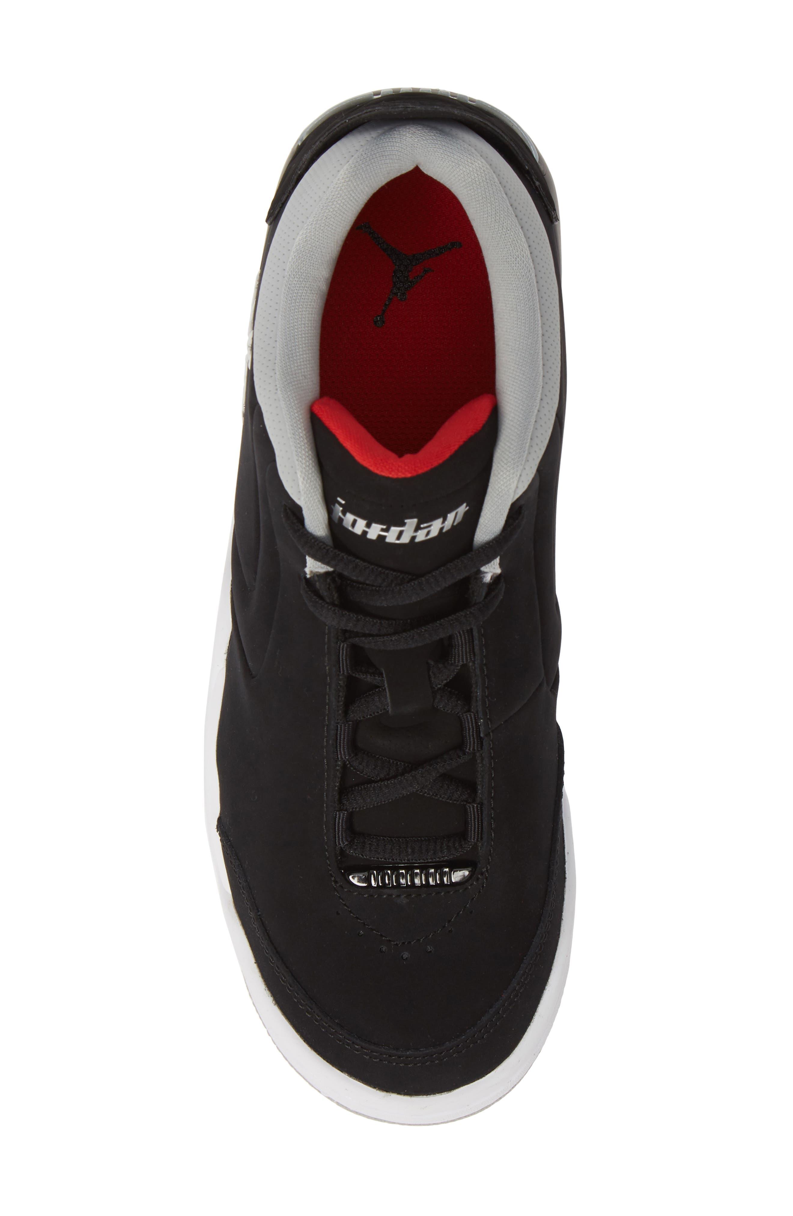 JORDAN, Big Fund Mid Top Basketball Sneaker, Alternate thumbnail 5, color, BLACK/ METALLIC SILVER-WHITE