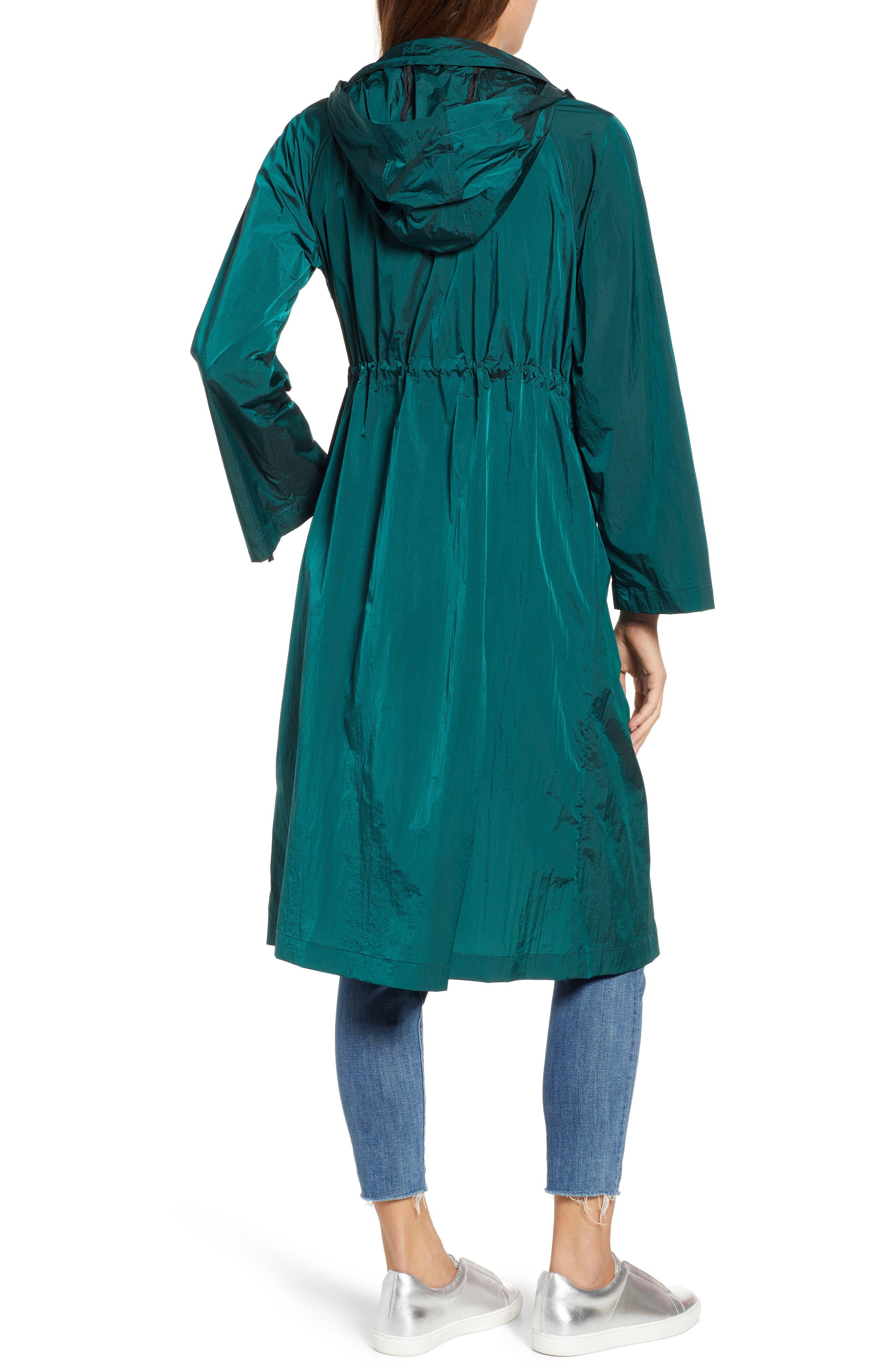 BERNARDO, Crinkle Nylon Long Hooded Parka, Alternate thumbnail 2, color, GREEN