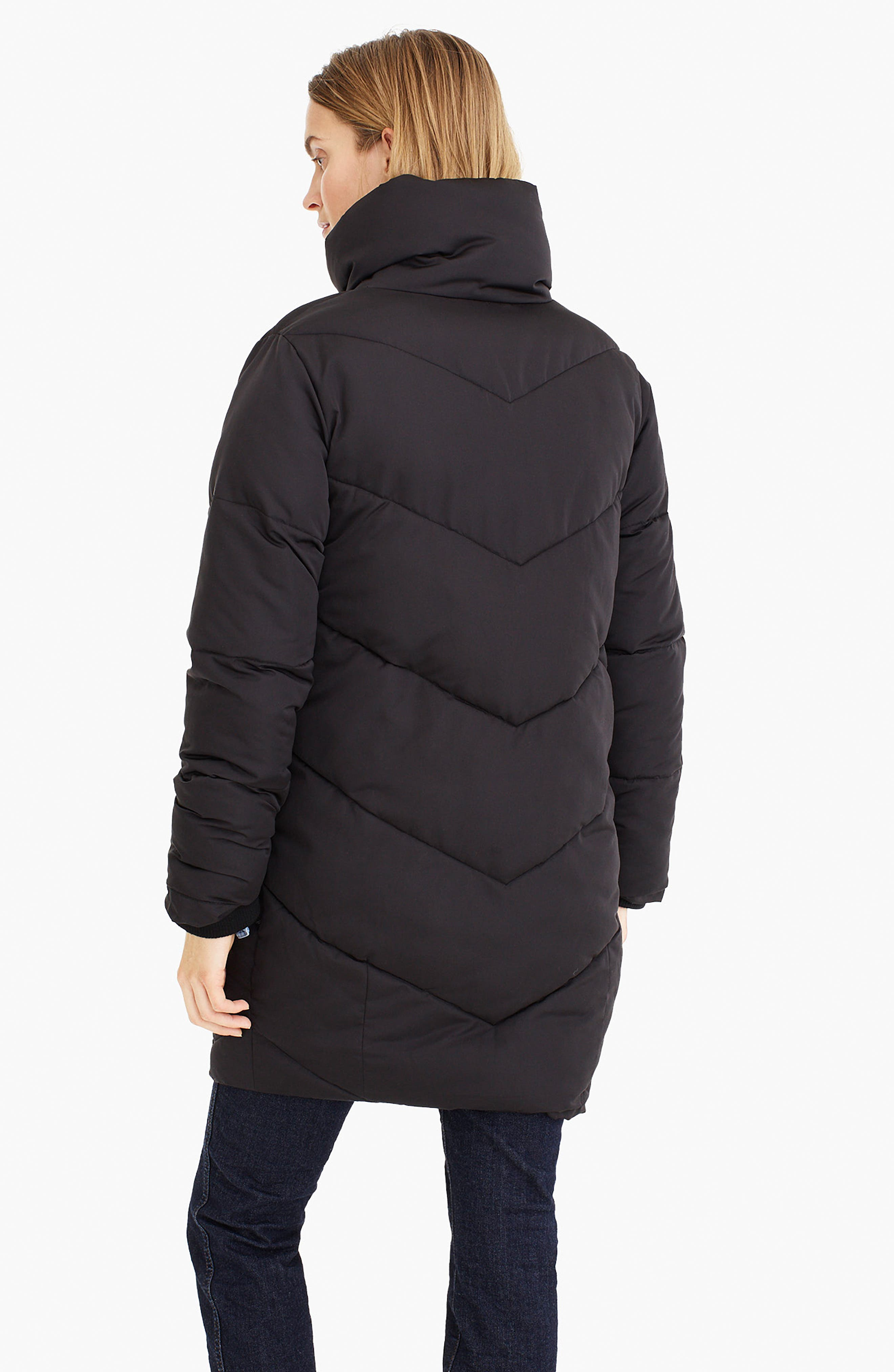 UNIVERSAL STANDARD, for J.Crew Chevron Long Puffer Coat, Alternate thumbnail 11, color, BLACK