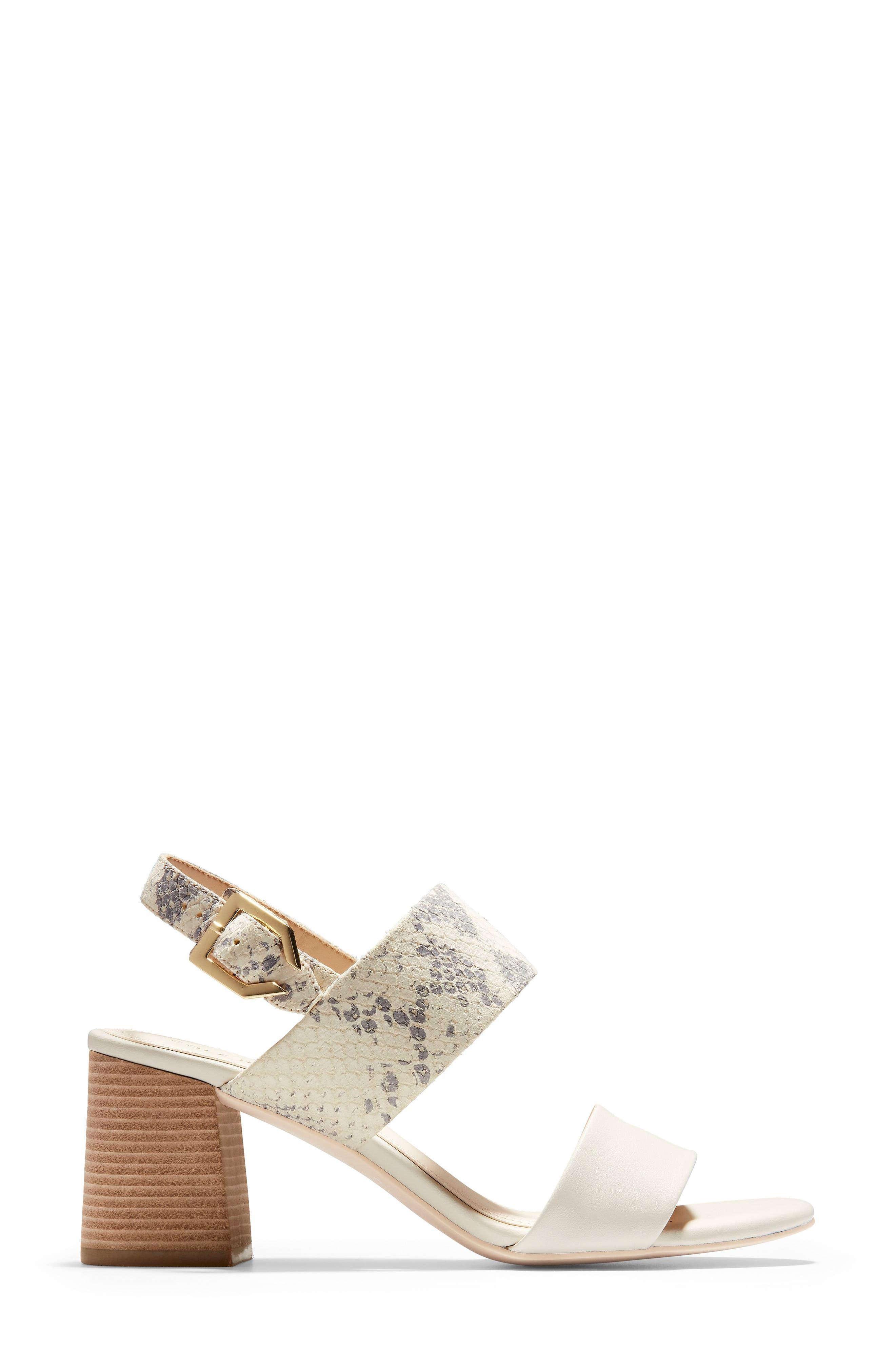 COLE HAAN, Avani Block Heel Sandal, Alternate thumbnail 3, color, IVORY PRINT LEATHER