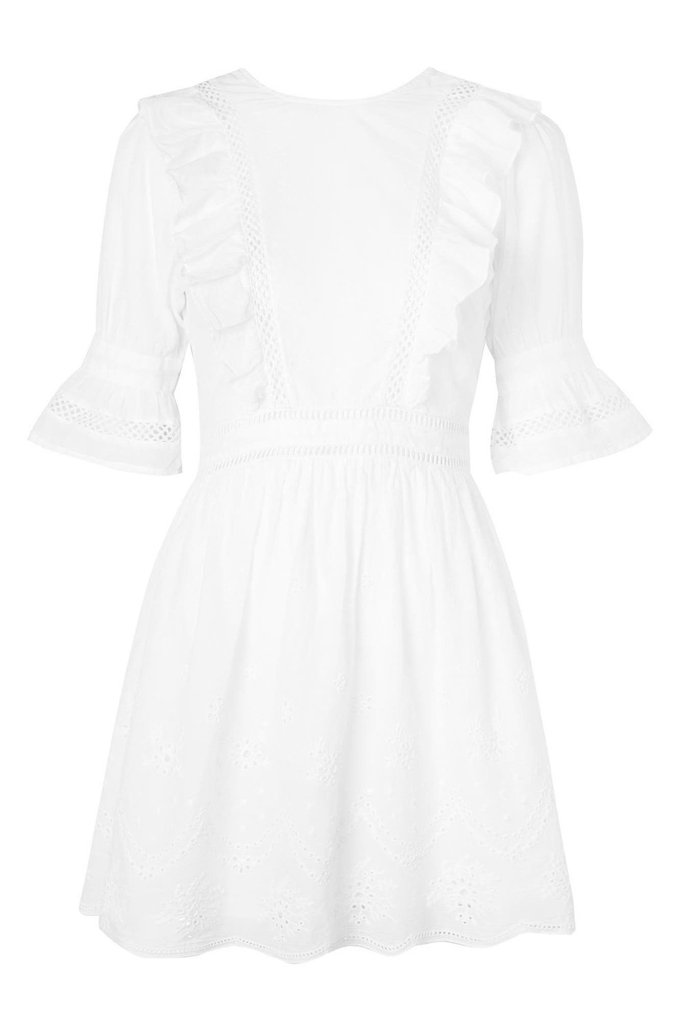 TOPSHOP, Broderie Ruffle Minidress, Alternate thumbnail 3, color, 100