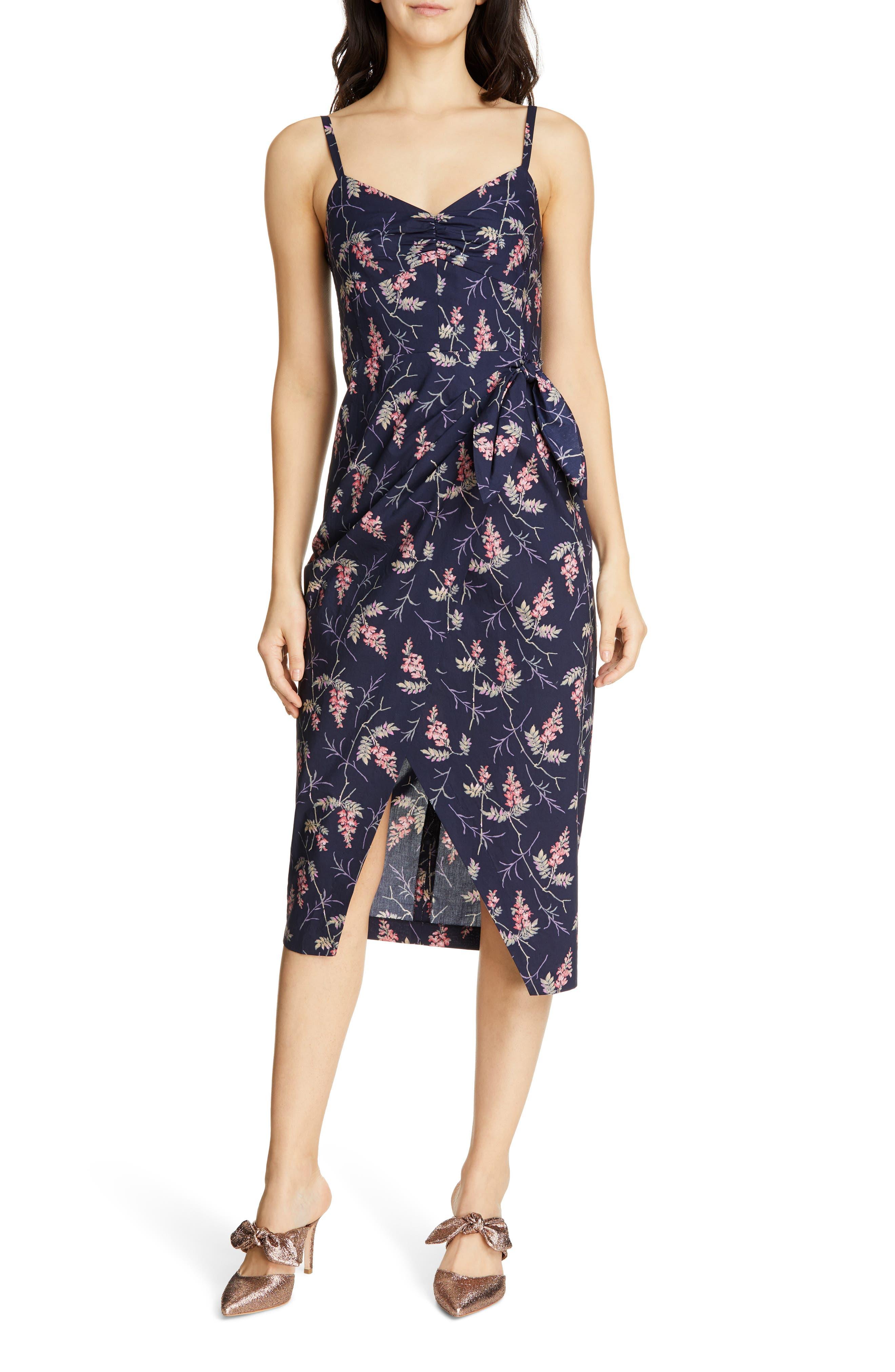 REBECCA TAYLOR, Ivie Floral Sleeveless Cotton Midi Sundress, Main thumbnail 1, color, NAVY COMBO