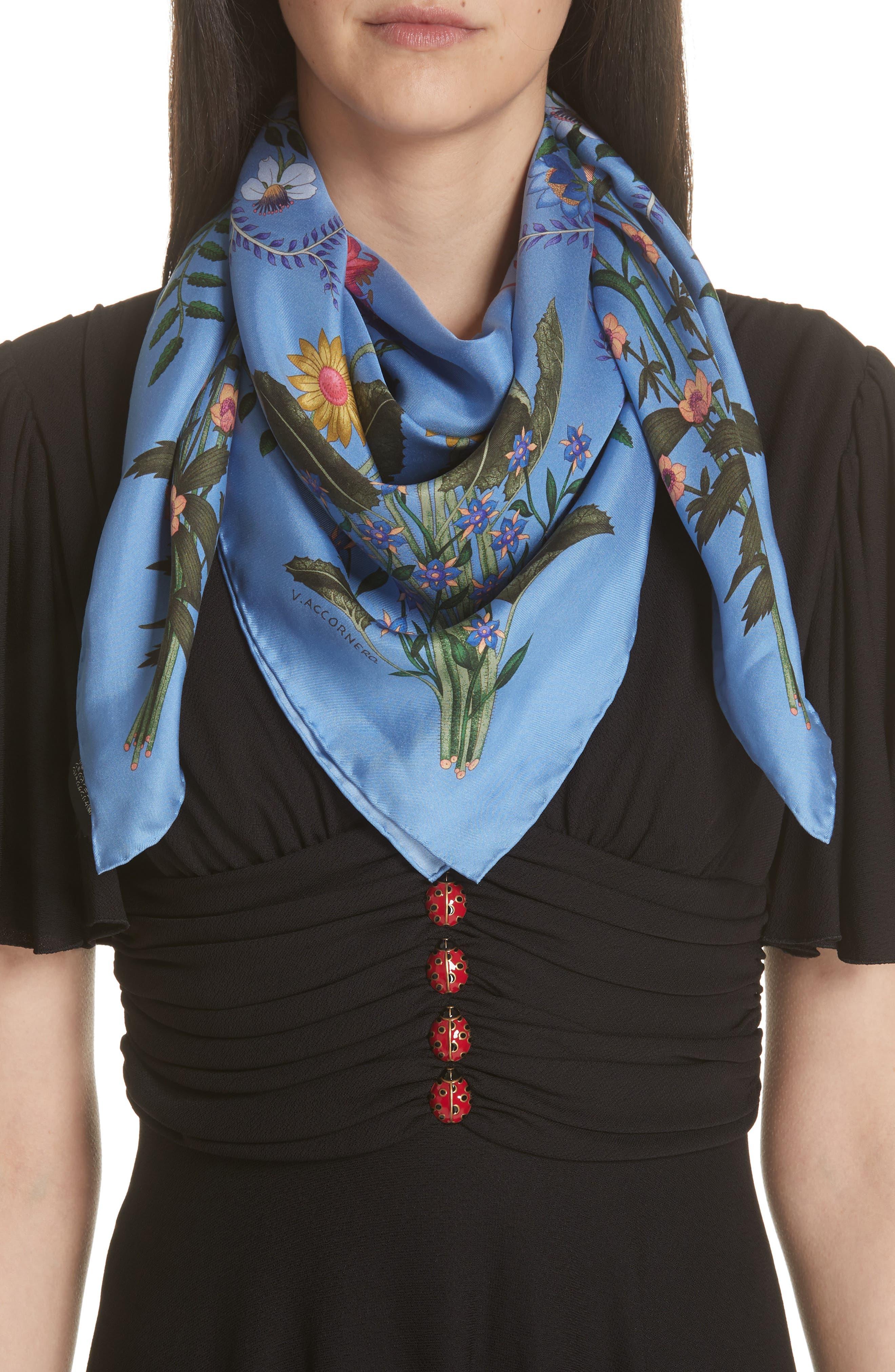 GUCCI, New Flora Foulard Scarf, Main thumbnail 1, color, BLUETTE