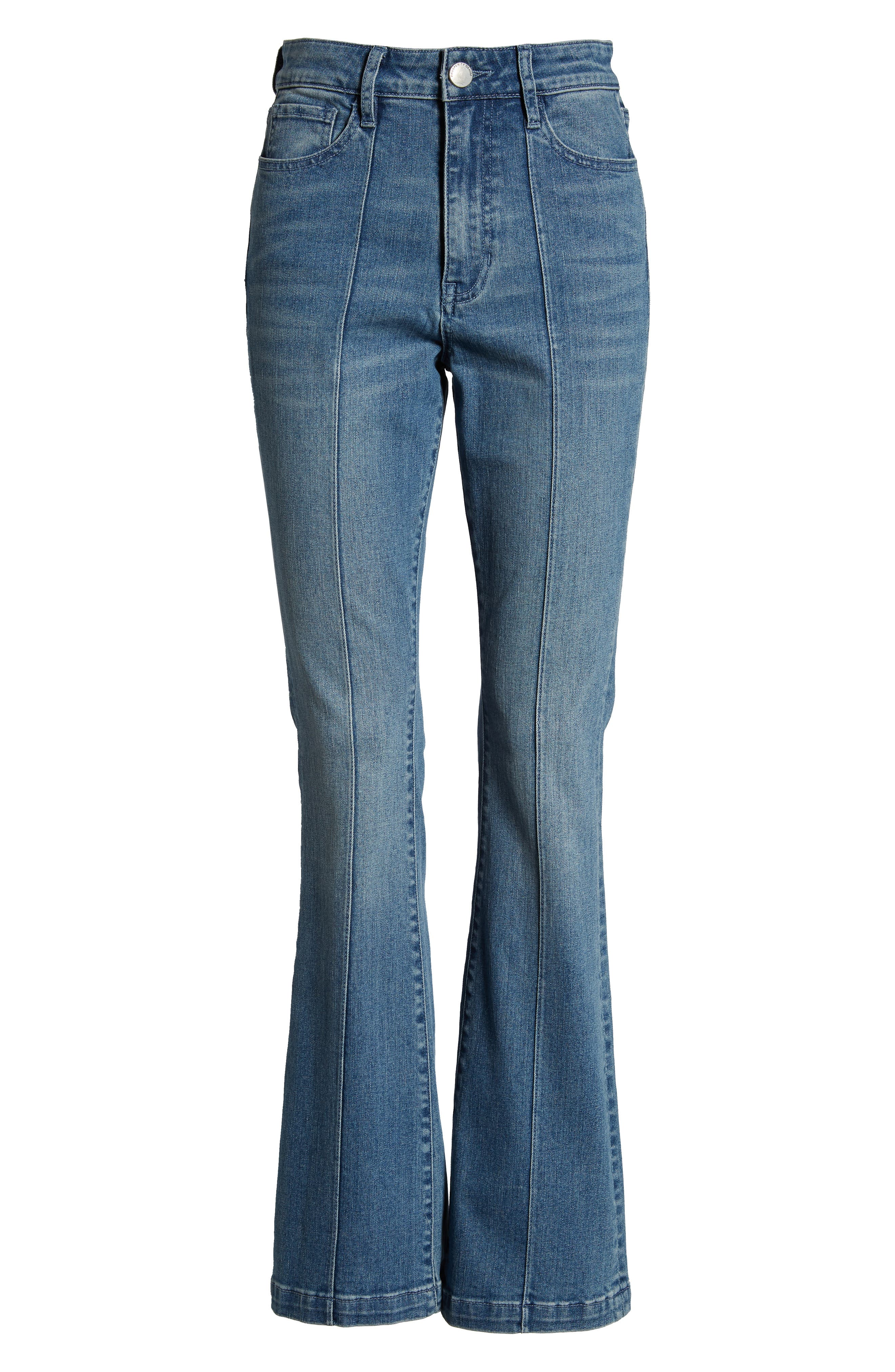 PROSPERITY DENIM, Pintuck Flare Jeans, Alternate thumbnail 7, color, KARLA WASH