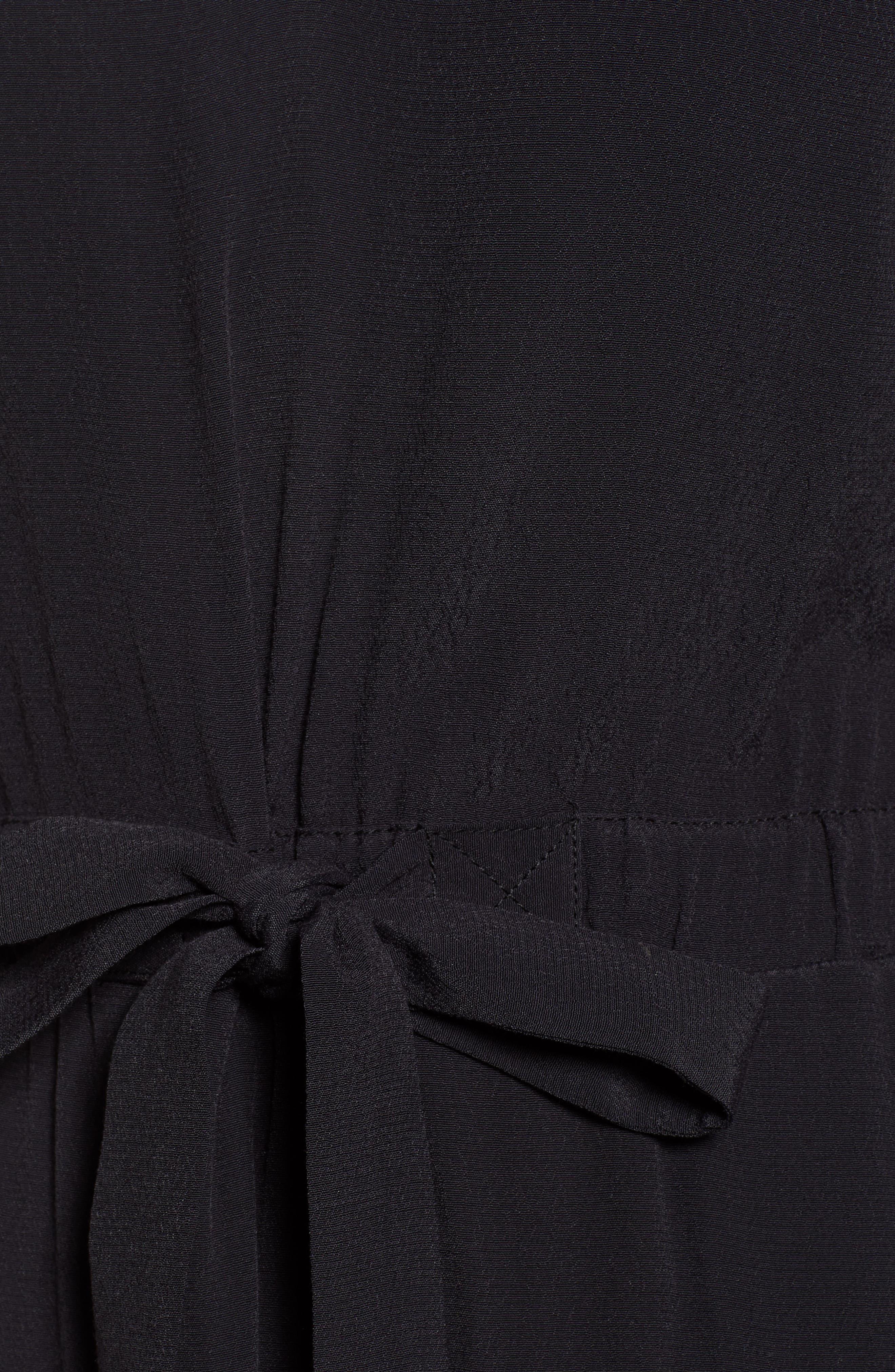 TREASURE & BOND, Cap Sleeve Midi Dress, Alternate thumbnail 6, color, BLACK