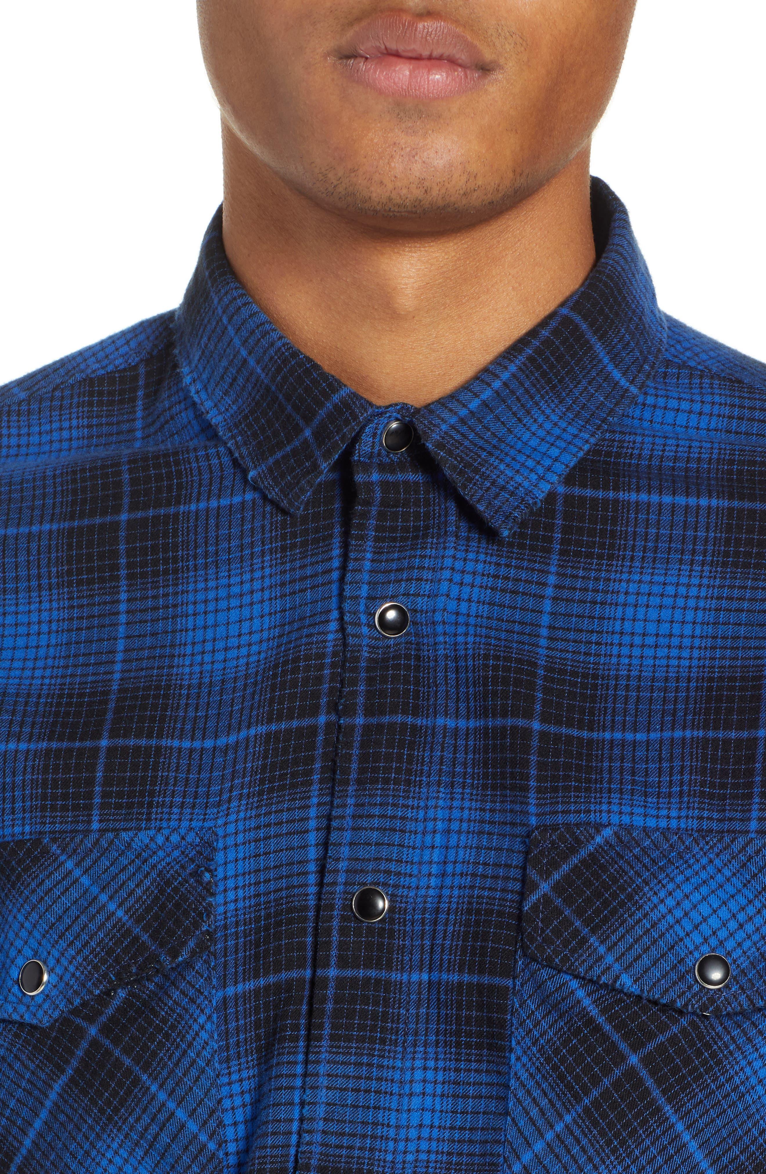 THE KOOPLES, Plaid Flannel Shirt, Alternate thumbnail 2, color, 400