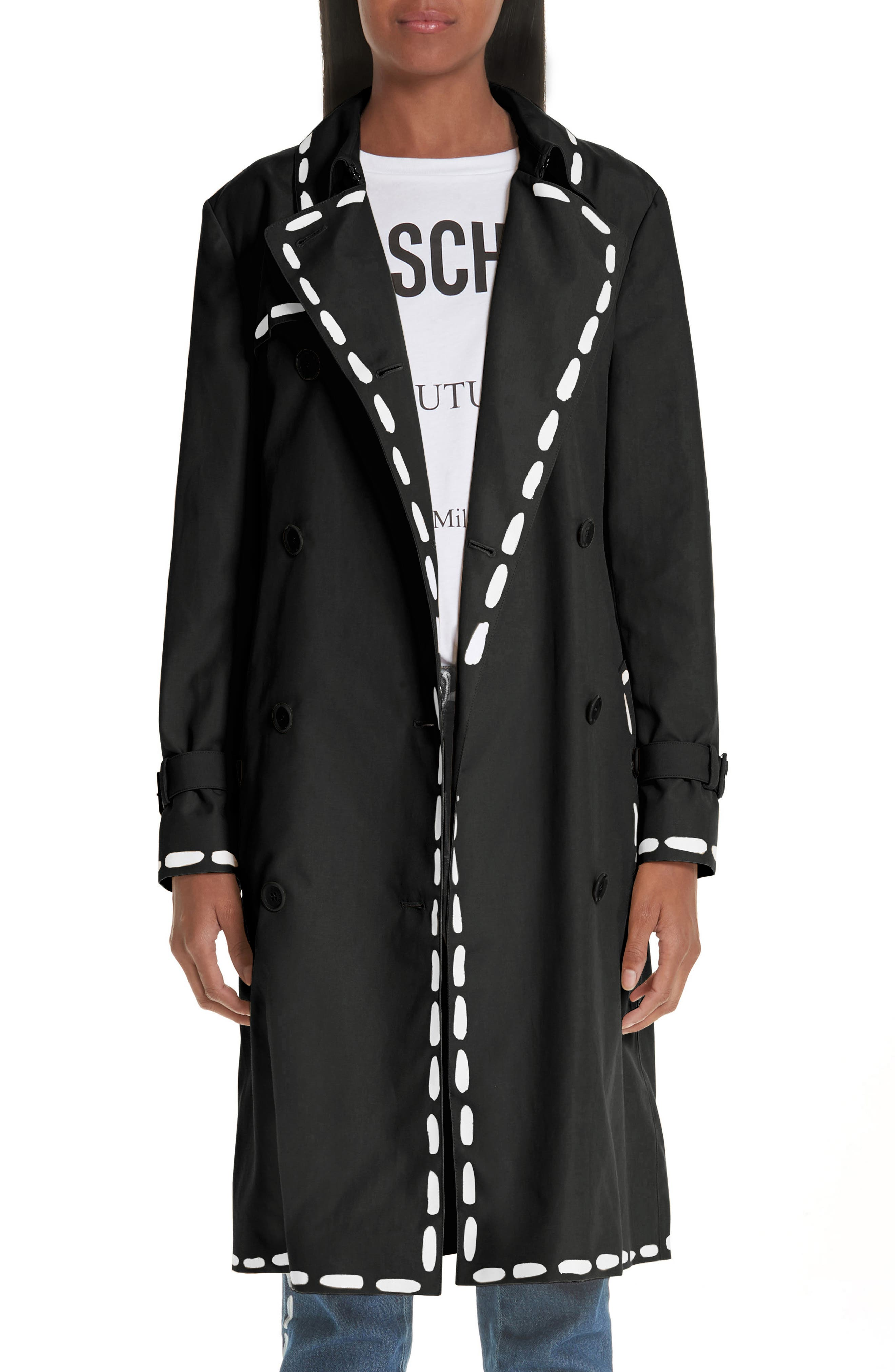 MOSCHINO, Dotted Line Trench Coat, Main thumbnail 1, color, BLACK