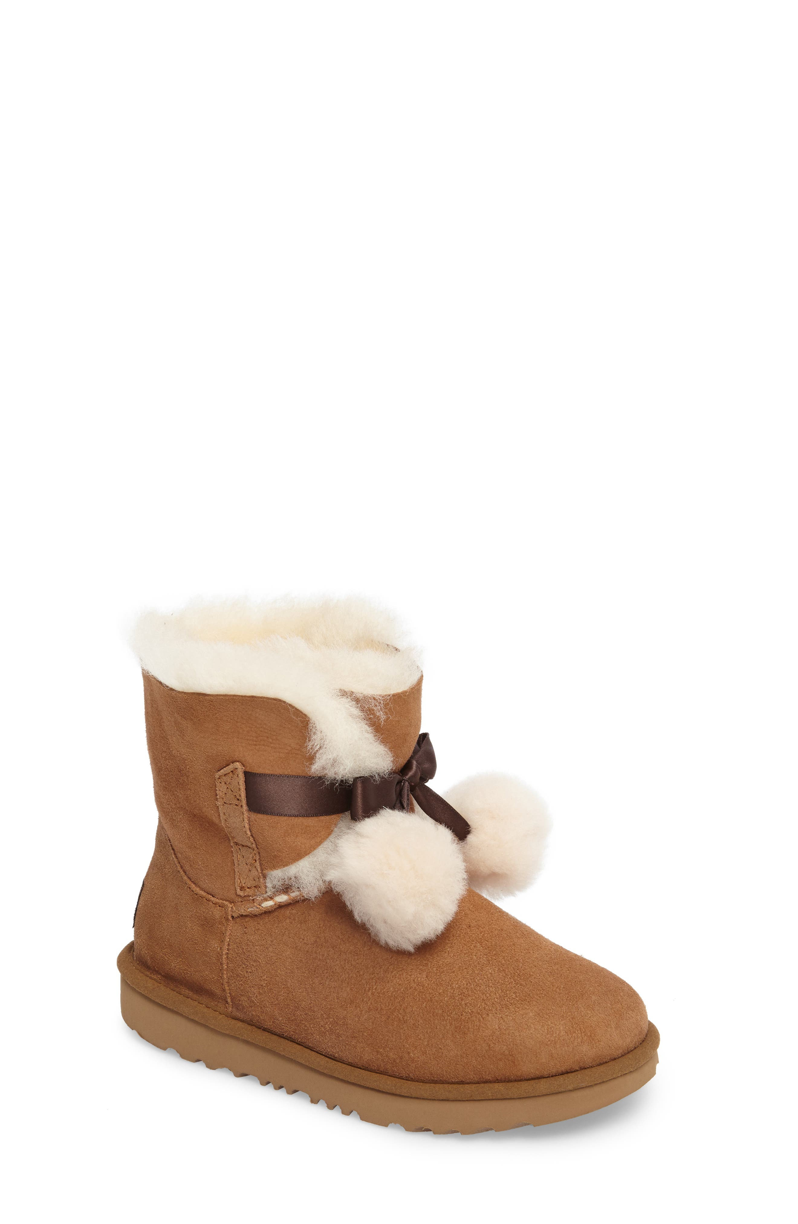 UGG<SUP>®</SUP>, Gita Water-Resistant Genuine Shearling Pom Boot, Main thumbnail 1, color, CHESTNUT