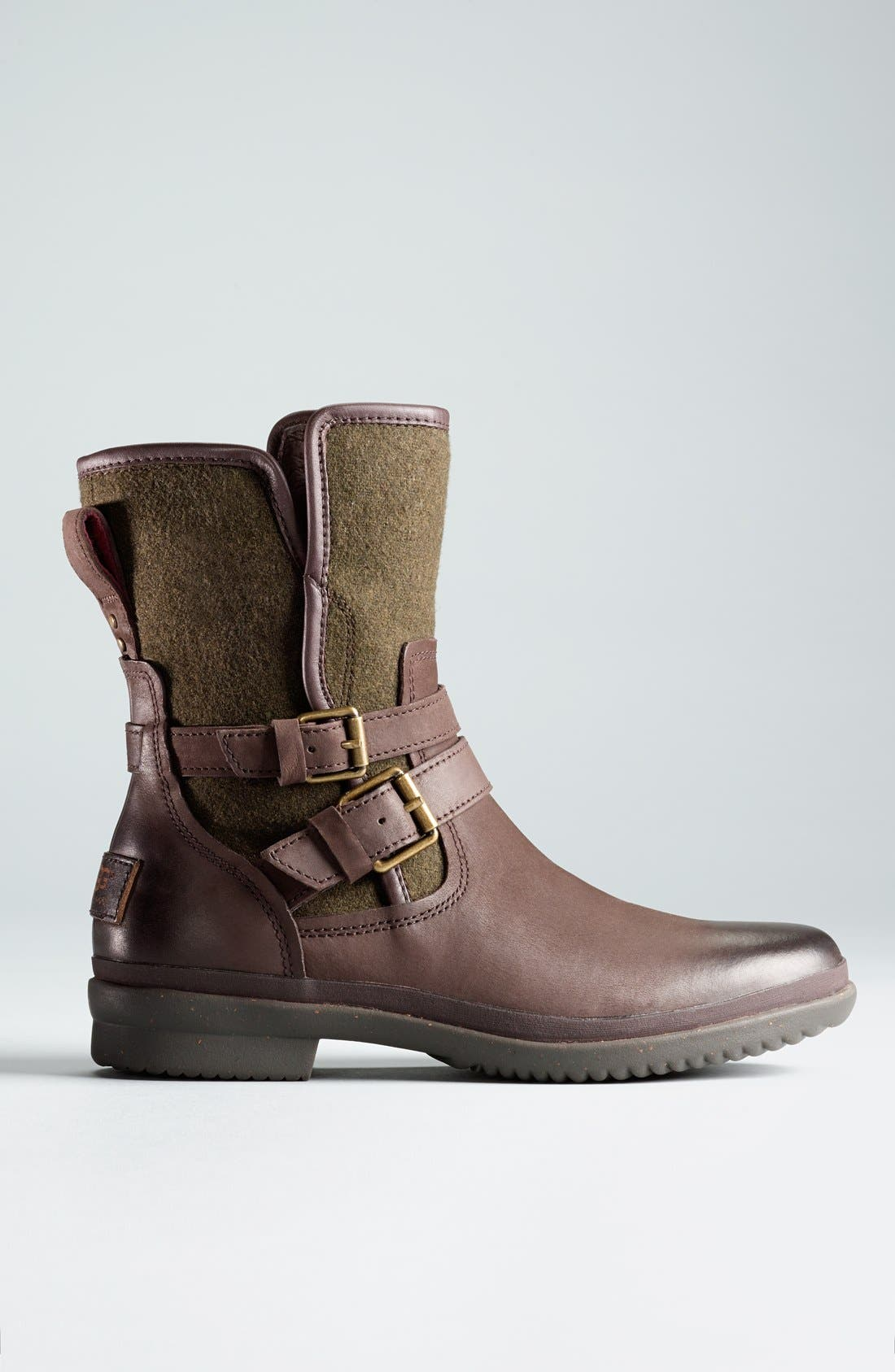 UGG<SUP>®</SUP>, Simmens Waterproof Leather Boot, Alternate thumbnail 6, color, STOUT WOOL