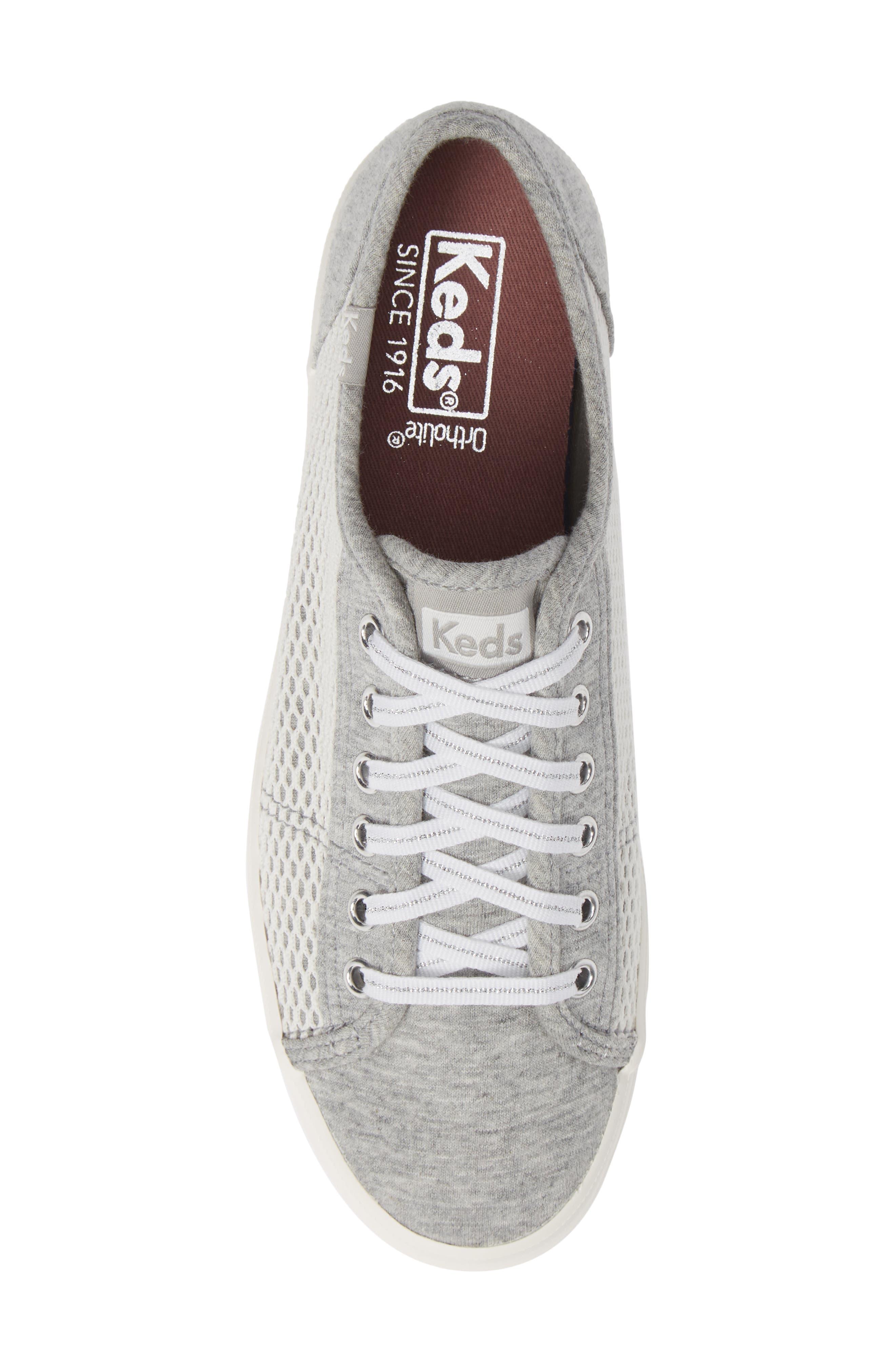 KEDS<SUP>®</SUP>, Kickstart Mesh & Jersey Sneaker, Alternate thumbnail 5, color, LIGHT GRAY