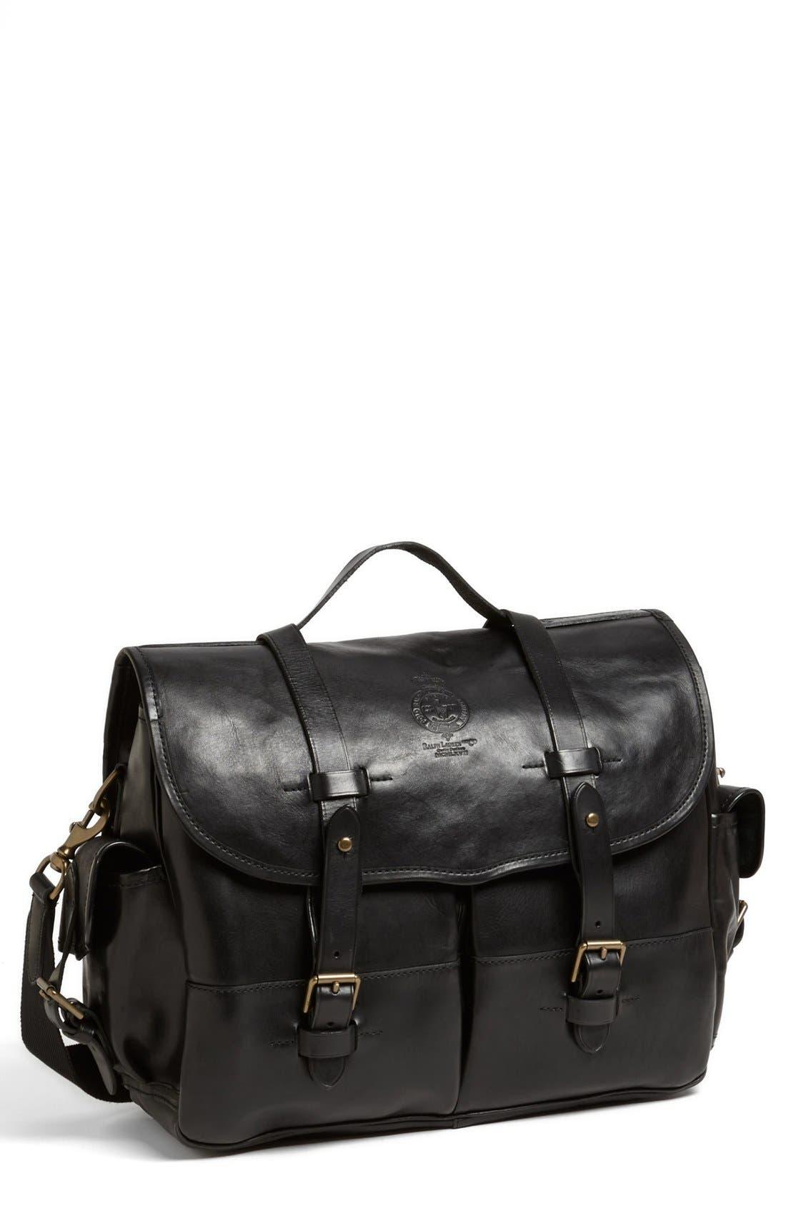 POLO RALPH LAUREN Leather Briefcase, Main, color, 001