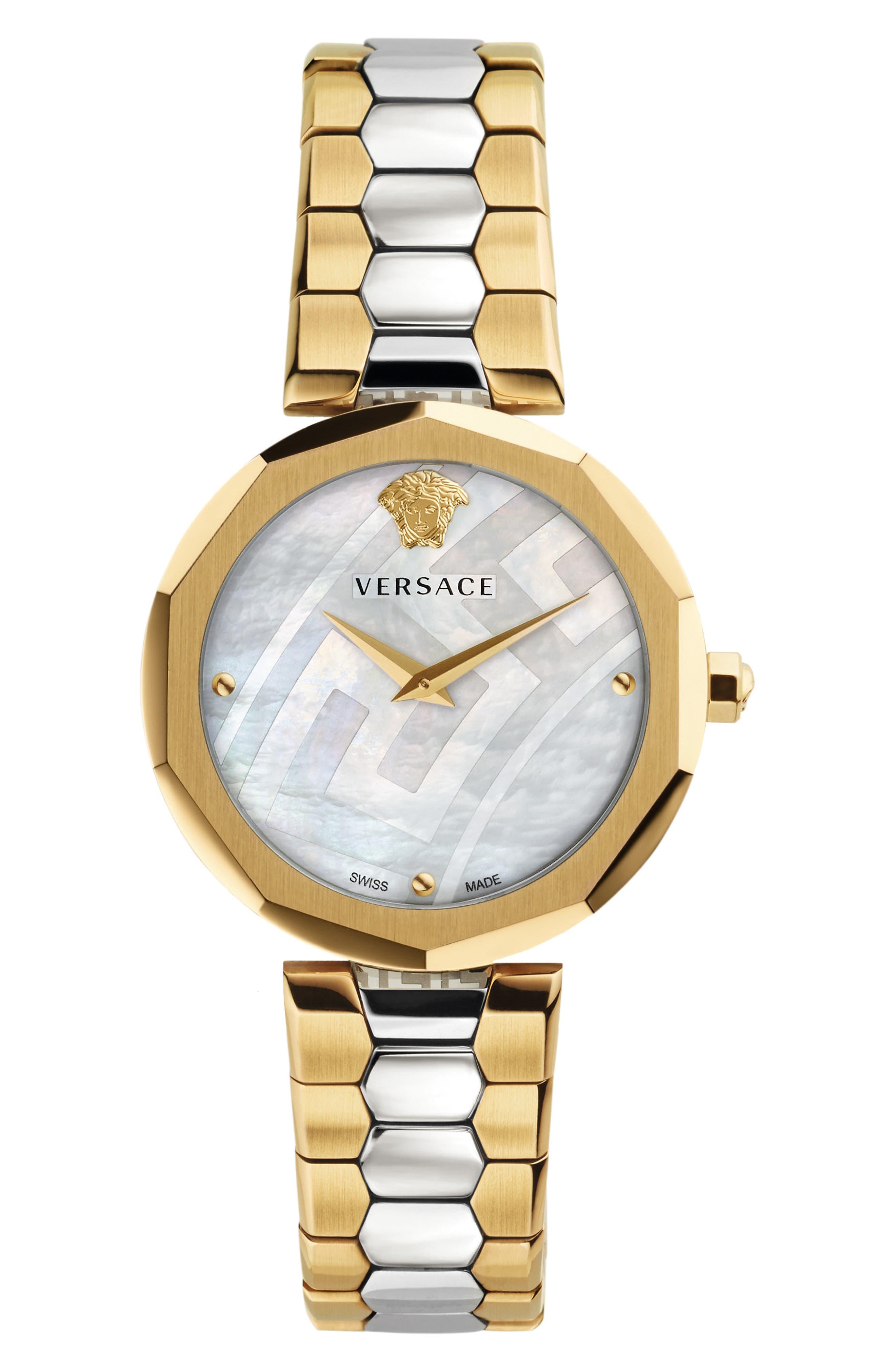 VERSACE, Idyia Bracelet Watch, 36mm, Main thumbnail 1, color, SILVER/ MOP/ GOLD