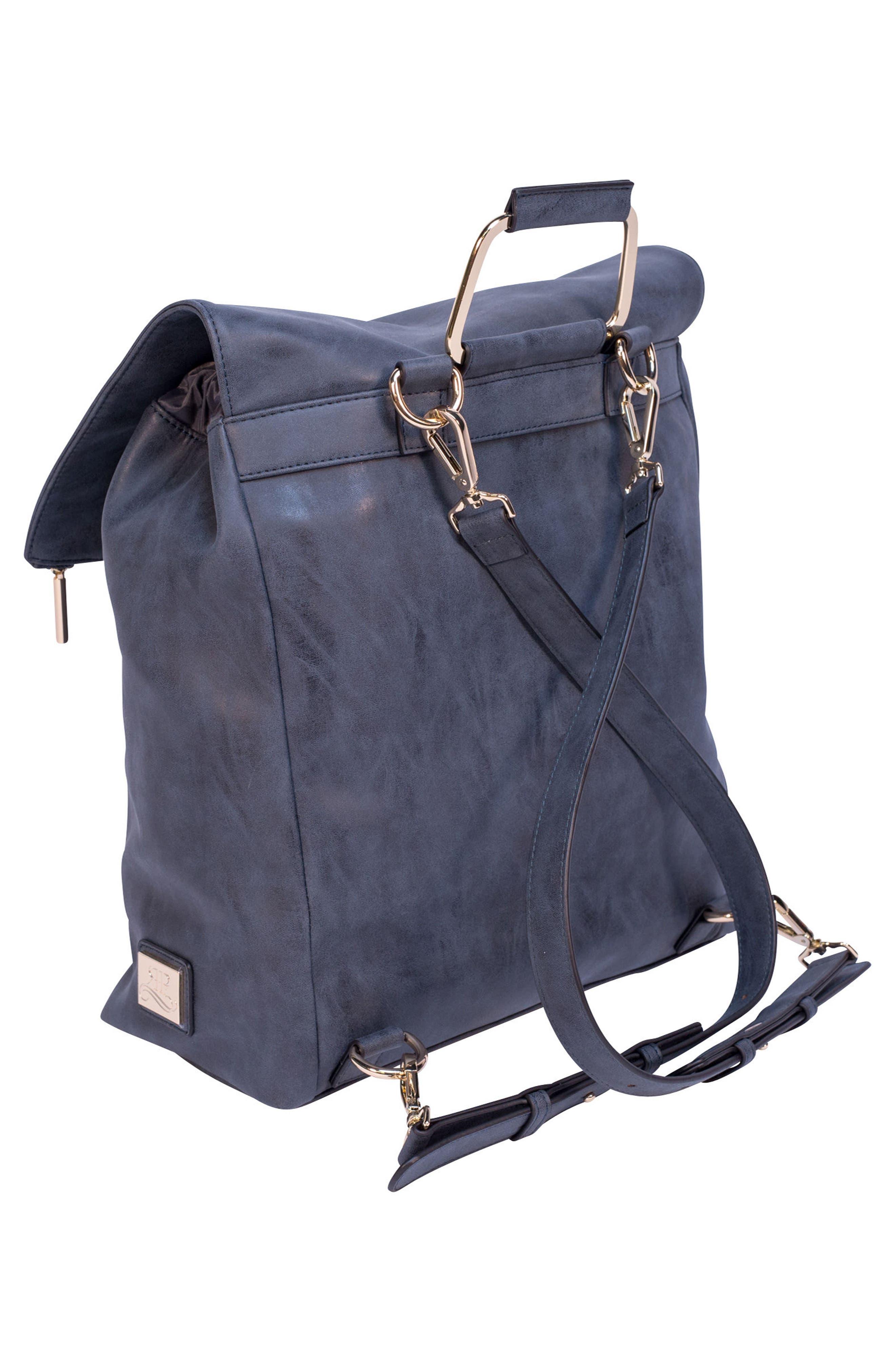 ROSIE POPE, Highbury Hill Diaper Backpack, Alternate thumbnail 3, color, DUSTY NAVY