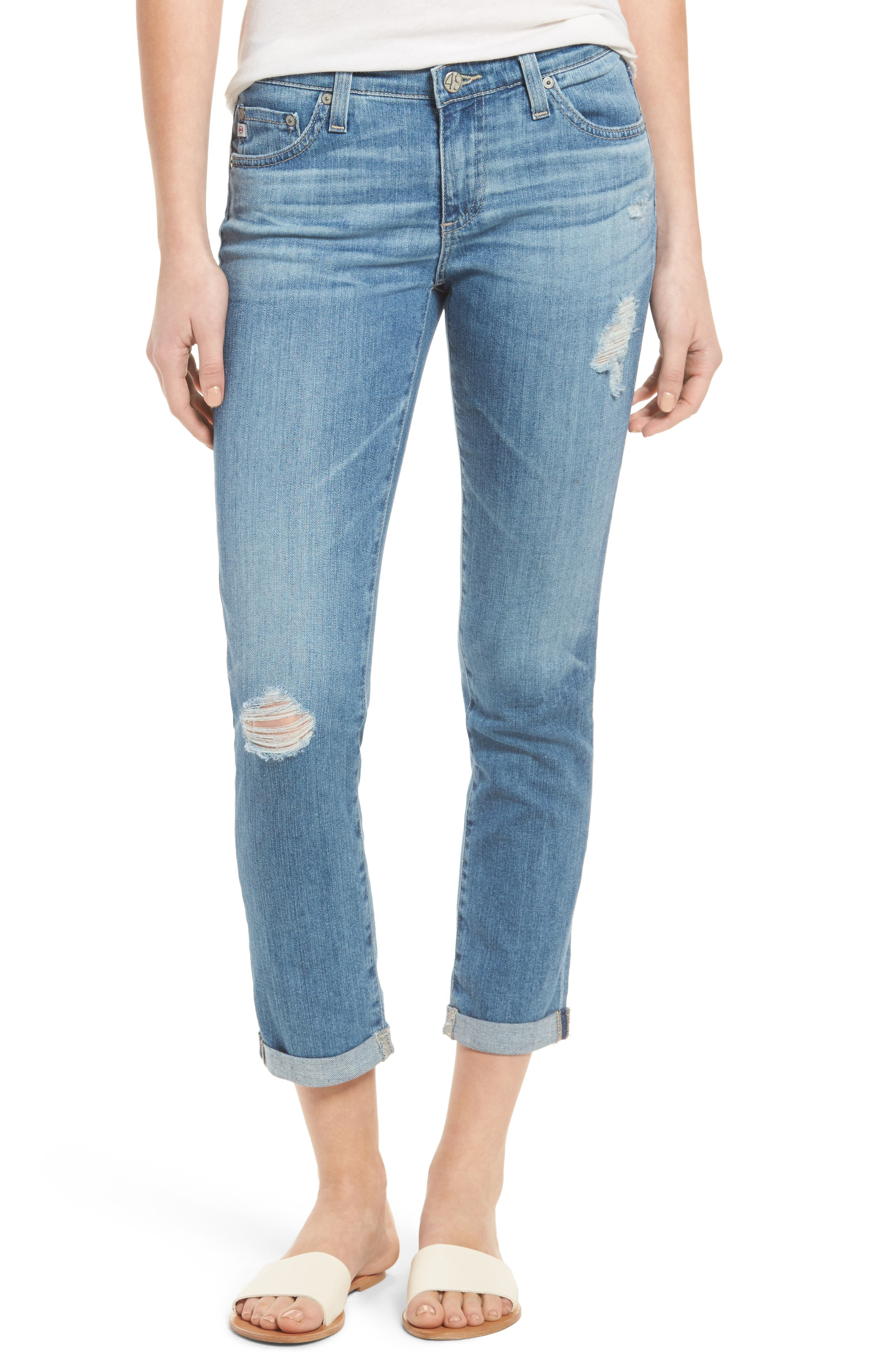 AG, 'Stilt' Distressed Roll Cuff Cigarette Jeans, Main thumbnail 1, color, 403