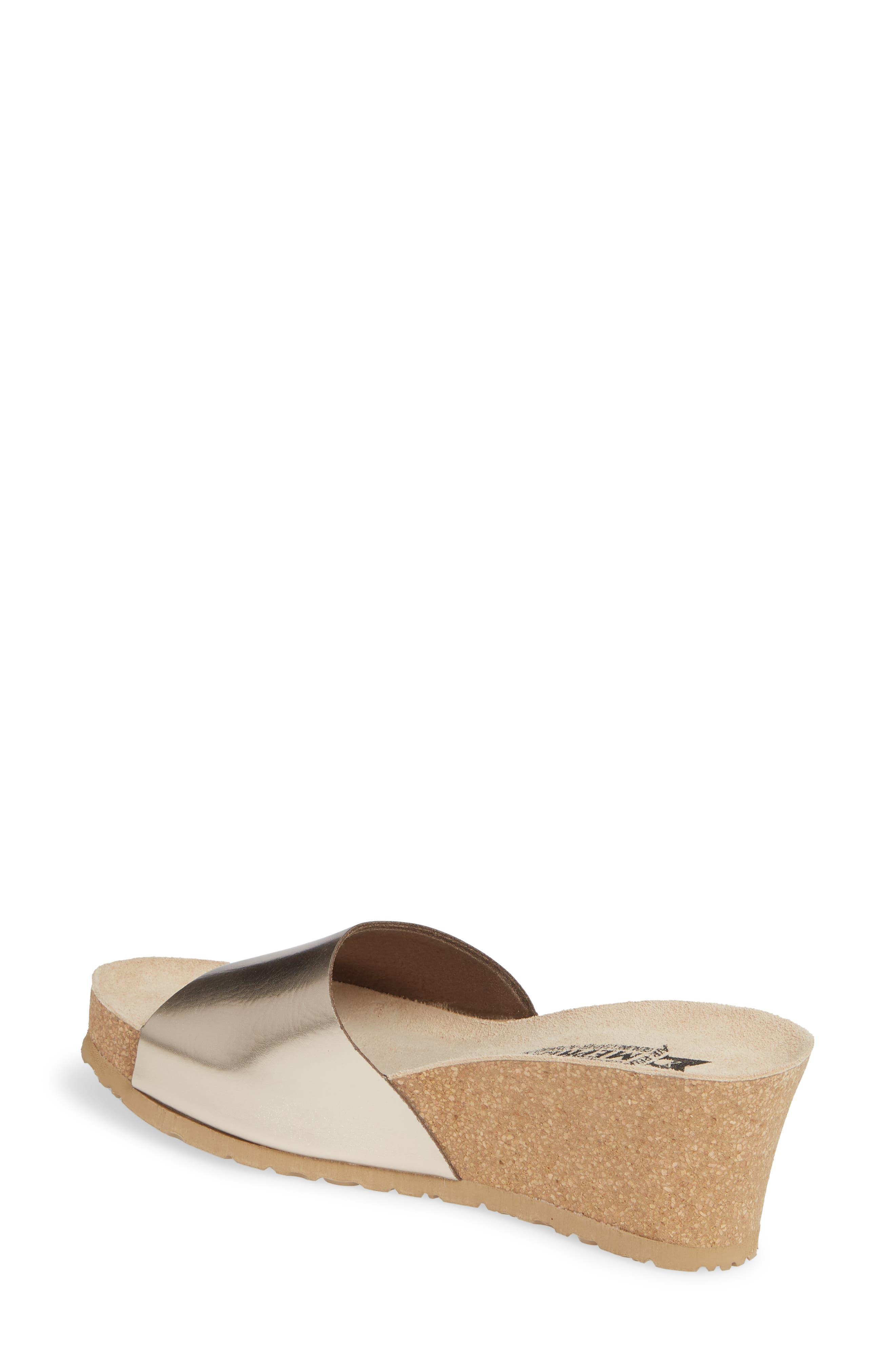 MEPHISTO, Lise Platform Wedge Sandal, Alternate thumbnail 2, color, PLATINUM LEATHER