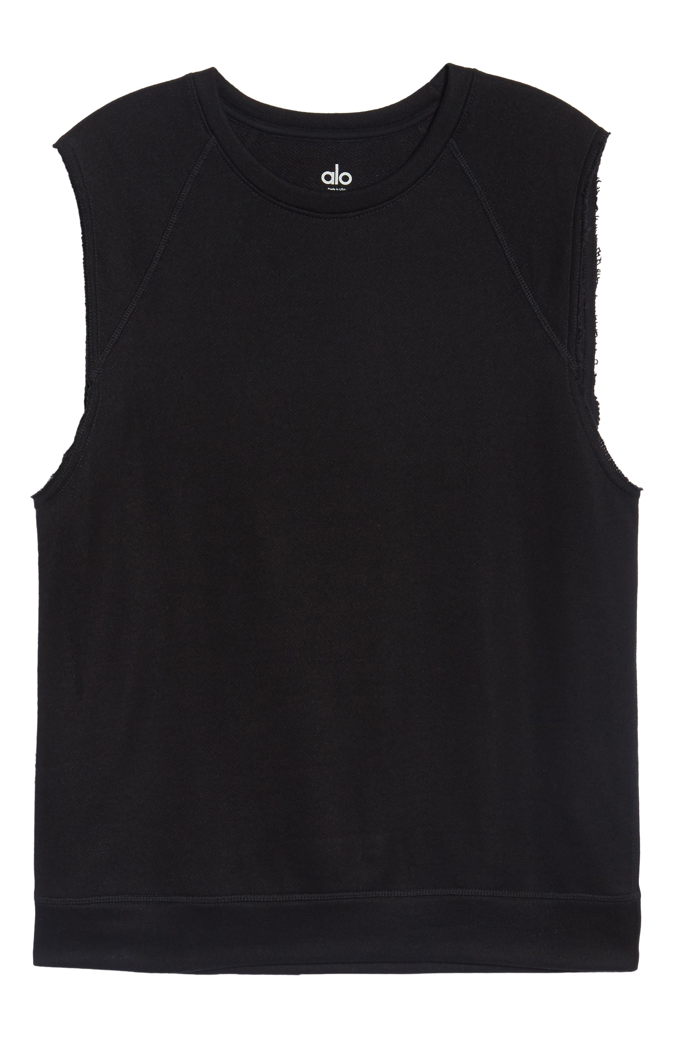 ALO, Dosha Relaxed Fit Sweatshirt Tank, Alternate thumbnail 6, color, BLACK