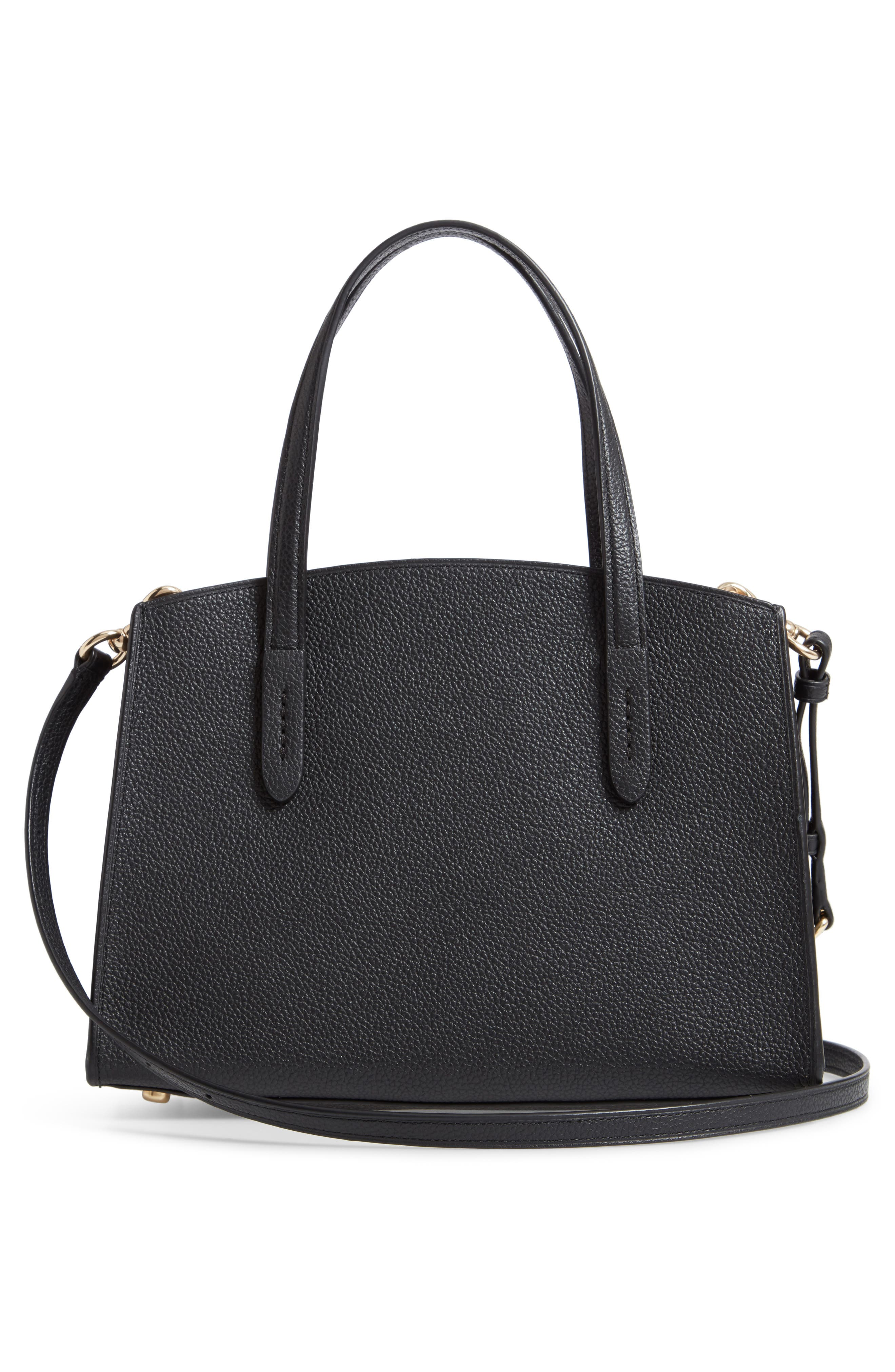 COACH, Charlie Leather Tote, Alternate thumbnail 3, color, BLACK