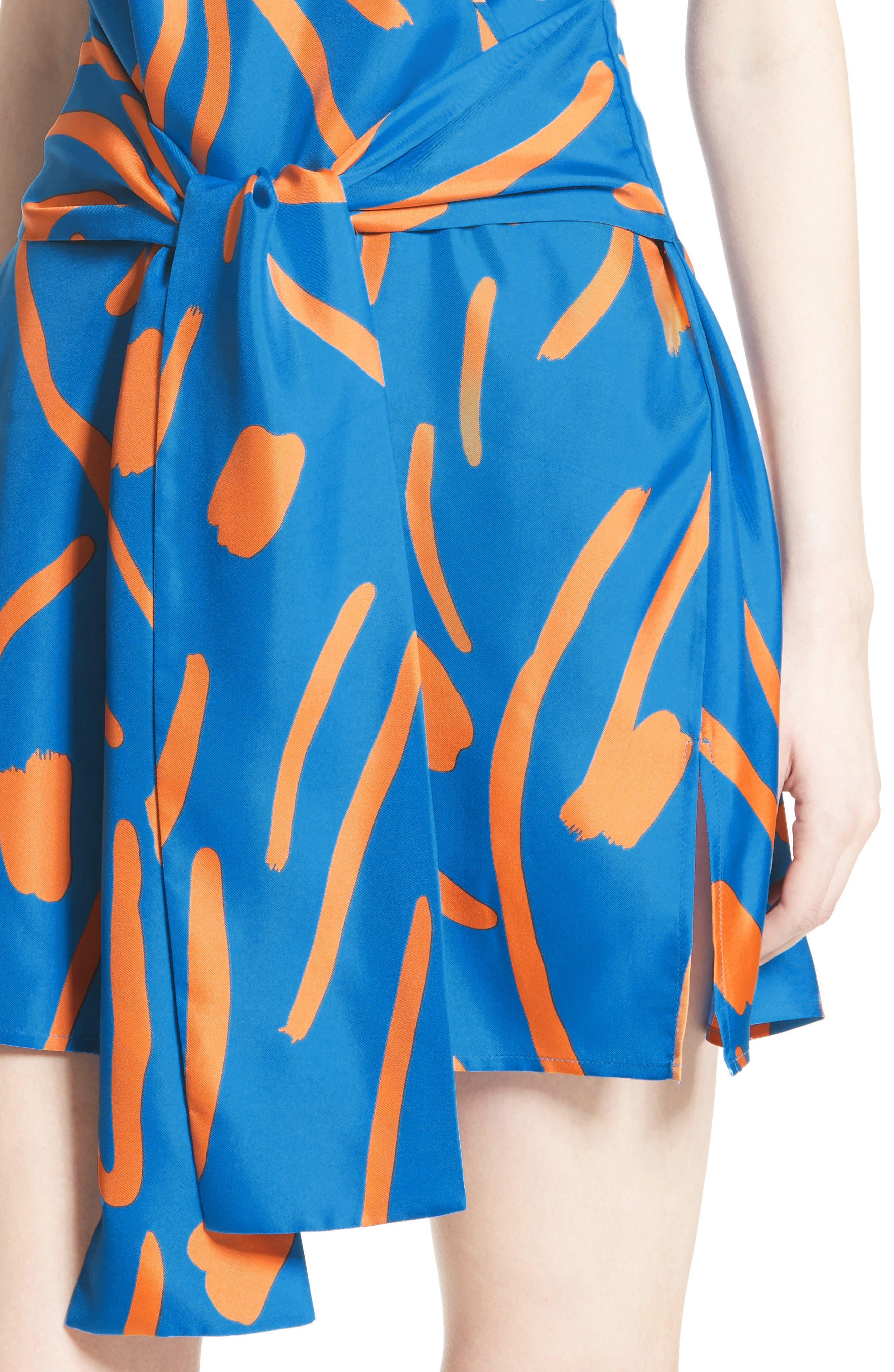 DIANE VON FURSTENBERG, Tie Front Faux Wrap Silk Dress, Alternate thumbnail 4, color, 494
