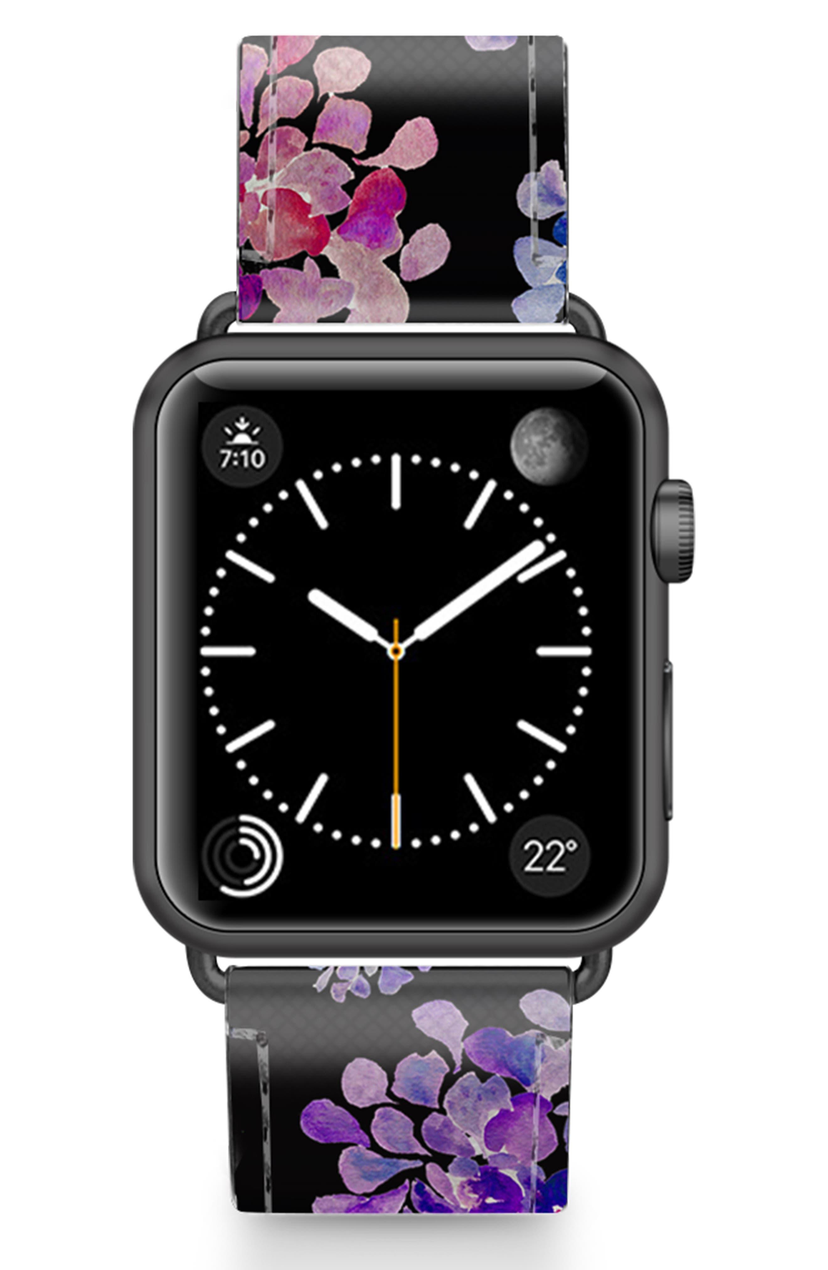 CASETIFY, Saffiano Purple Flowers Faux Leather Apple Watch Strap, Main thumbnail 1, color, BLACK