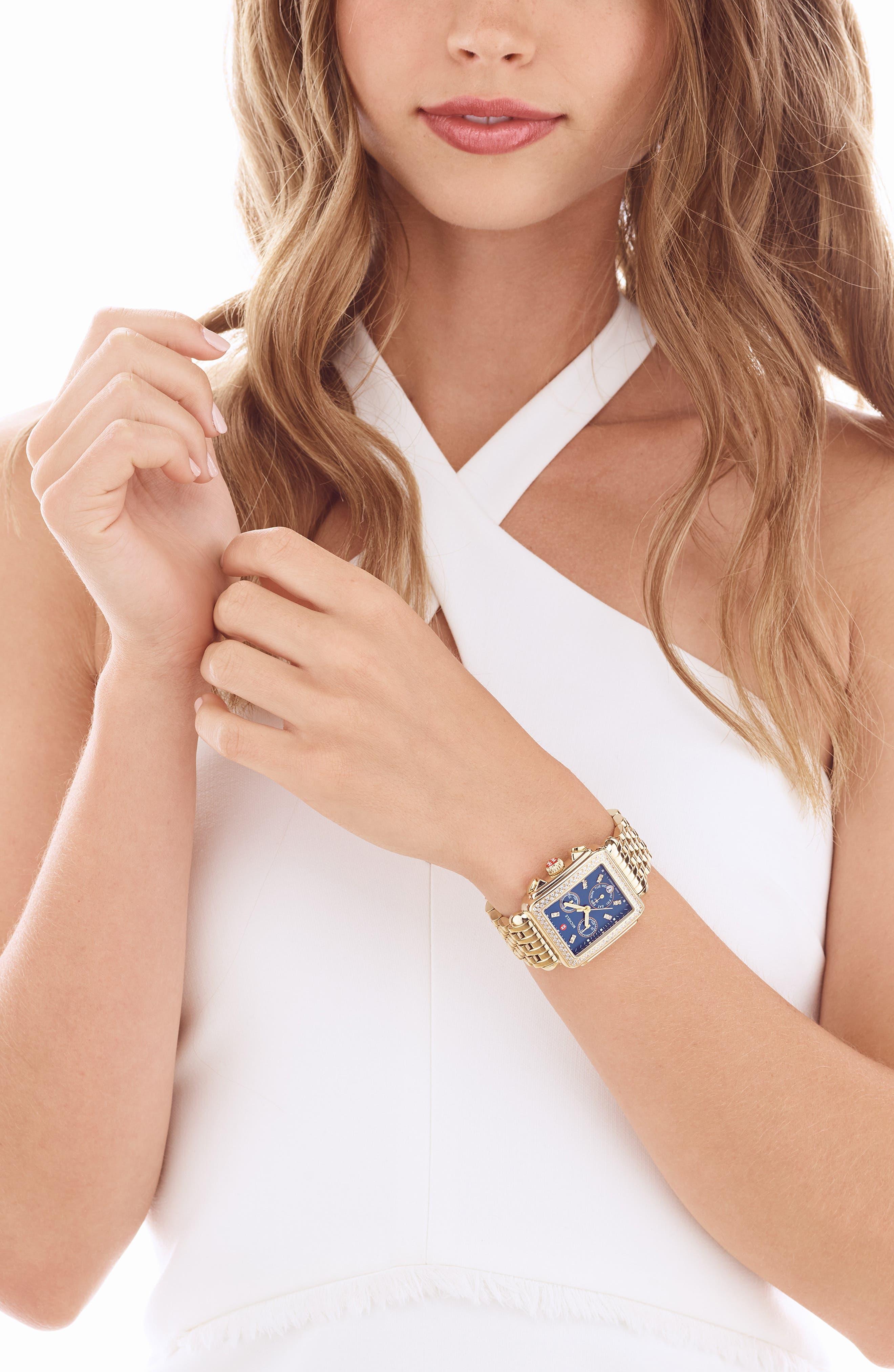 MICHELE, Deco Diamond Diamond Dial Watch Head, 33mm x 35mm, Alternate thumbnail 2, color, GOLD/ DEEP BLUE MOP