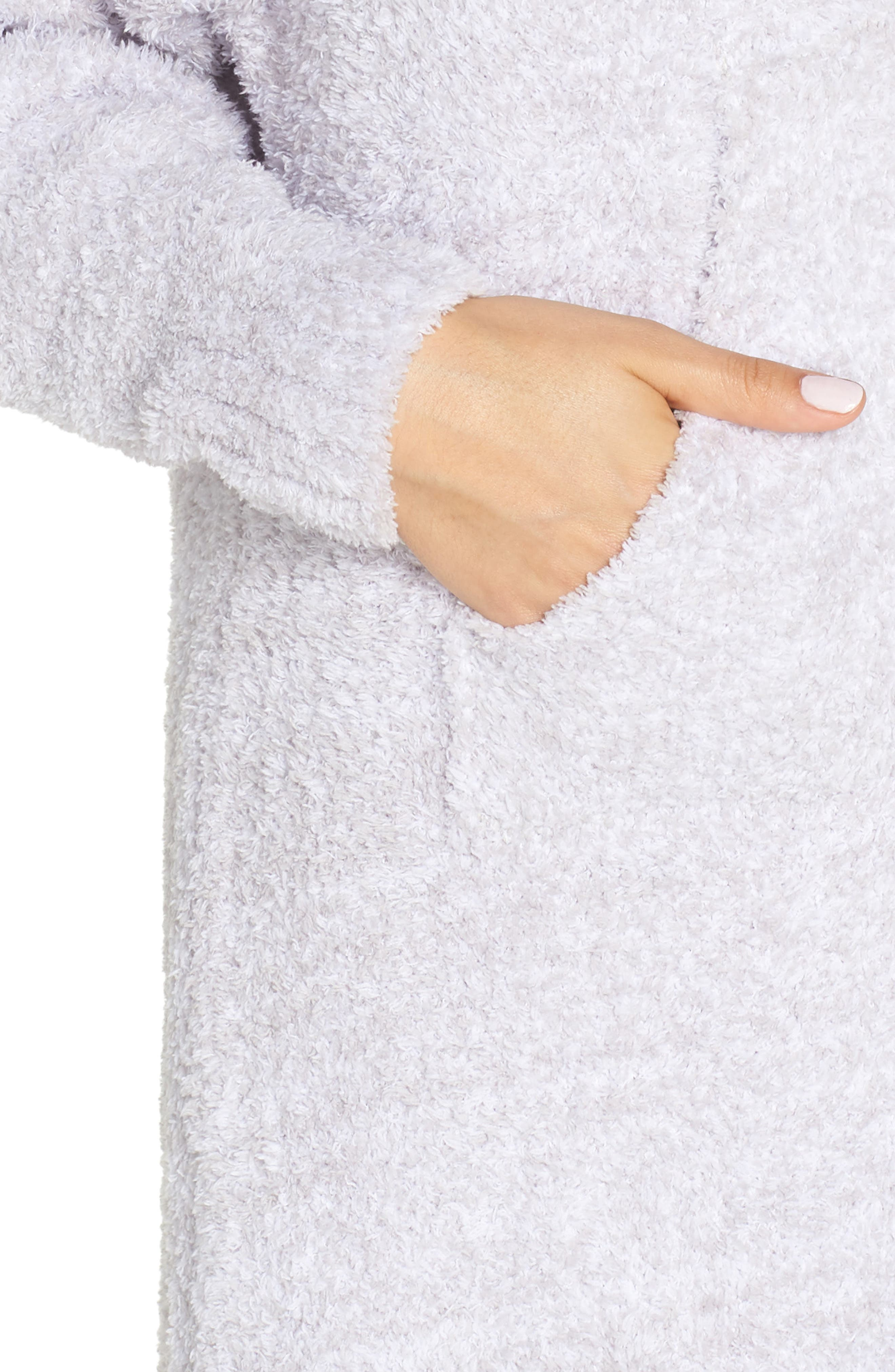BAREFOOT DREAMS<SUP>®</SUP>, CozyChic<sup>®</sup> Hooded Zip Robe, Alternate thumbnail 4, color, OYSTER/ WHITE