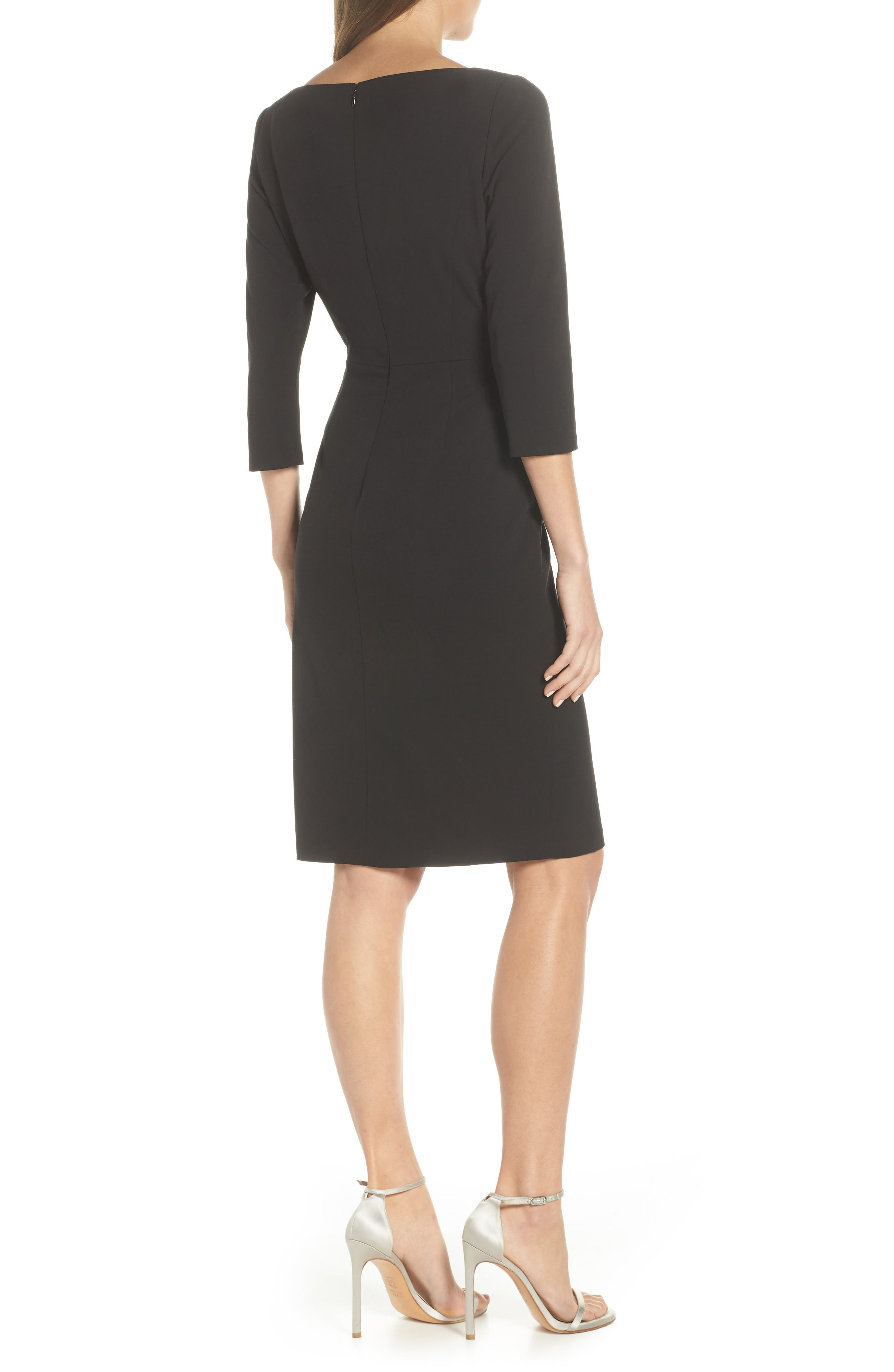 VINCE CAMUTO, Angled Ruffle Sheath Dress, Alternate thumbnail 2, color, BLACK