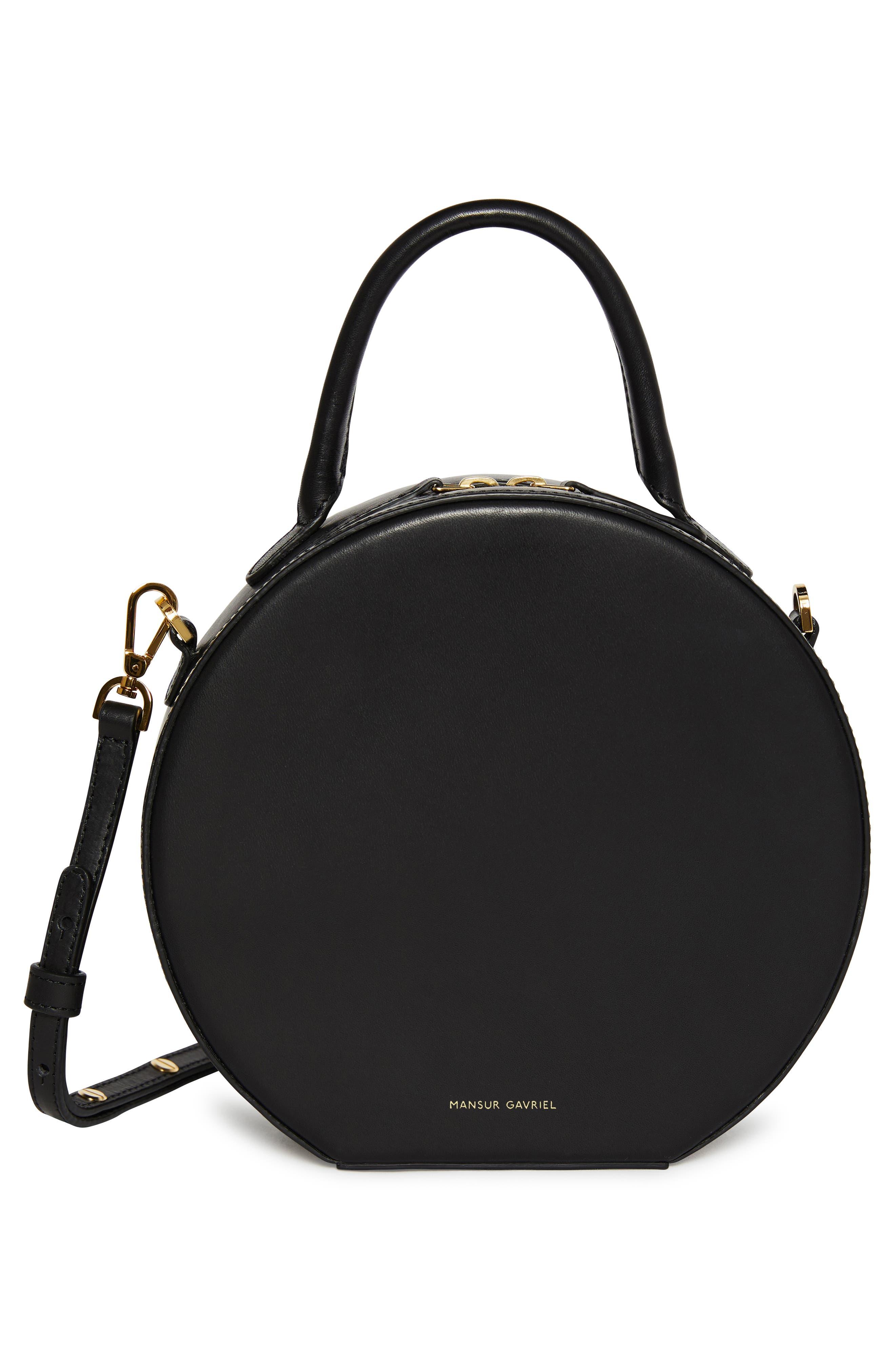MANSUR GAVRIEL, Leather Circle Crossbody Bag, Alternate thumbnail 3, color, BLACK