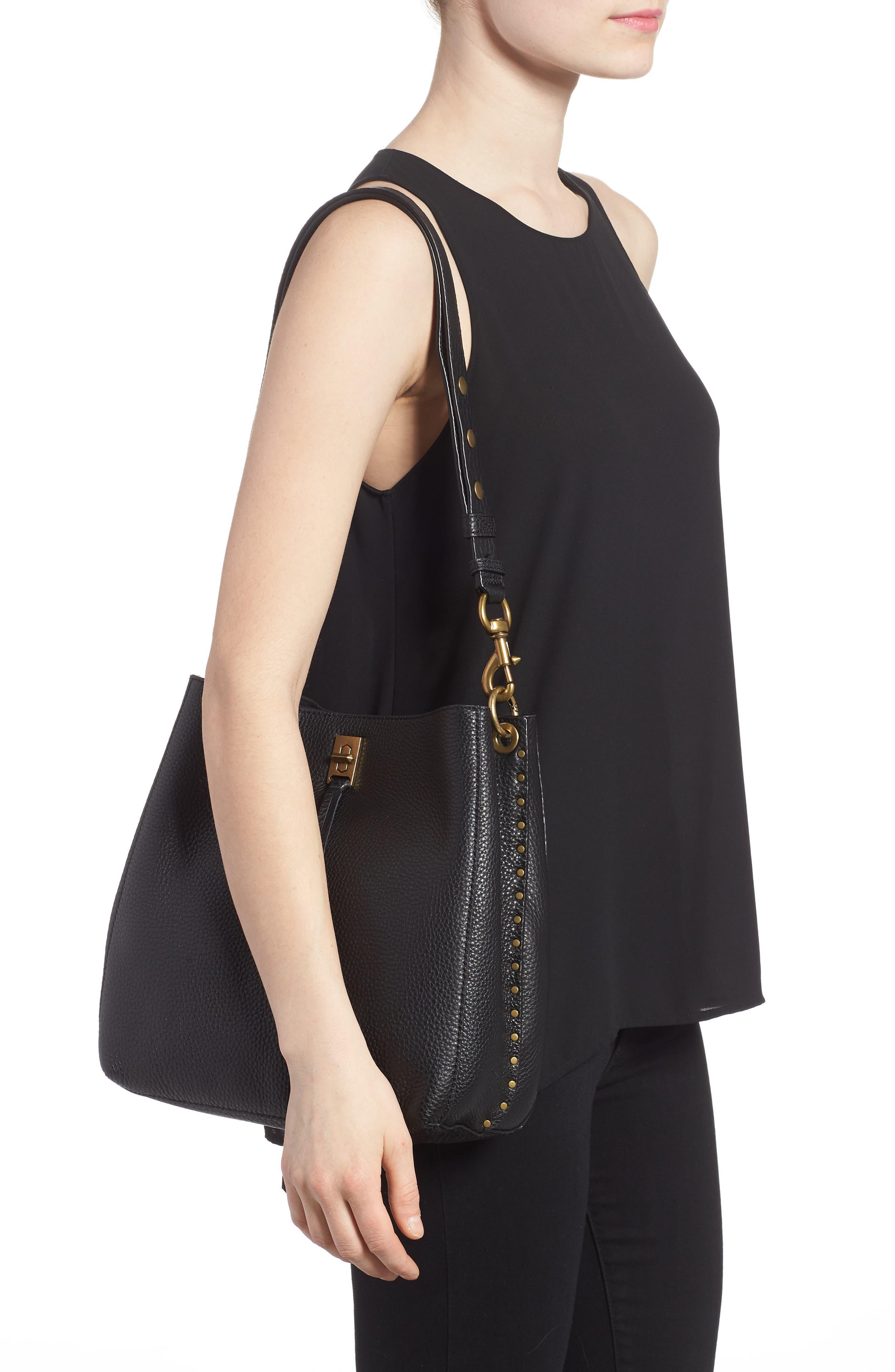 REBECCA MINKOFF, Darren Deerskin Leather Shoulder Bag, Alternate thumbnail 2, color, BLACK