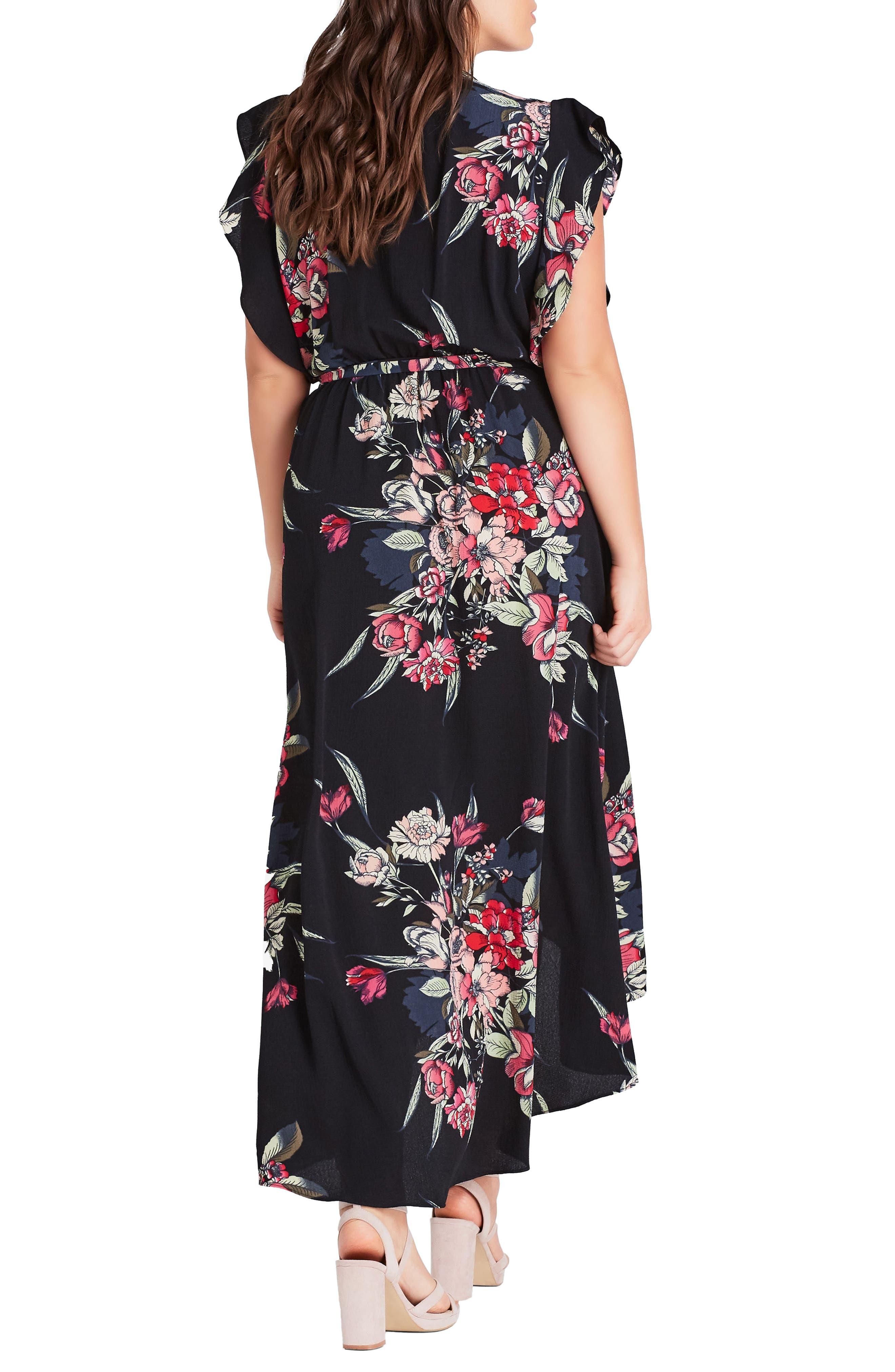 CITY CHIC, Misty Floral Wrap Maxi Dress, Alternate thumbnail 3, color, MISTY FLORAL