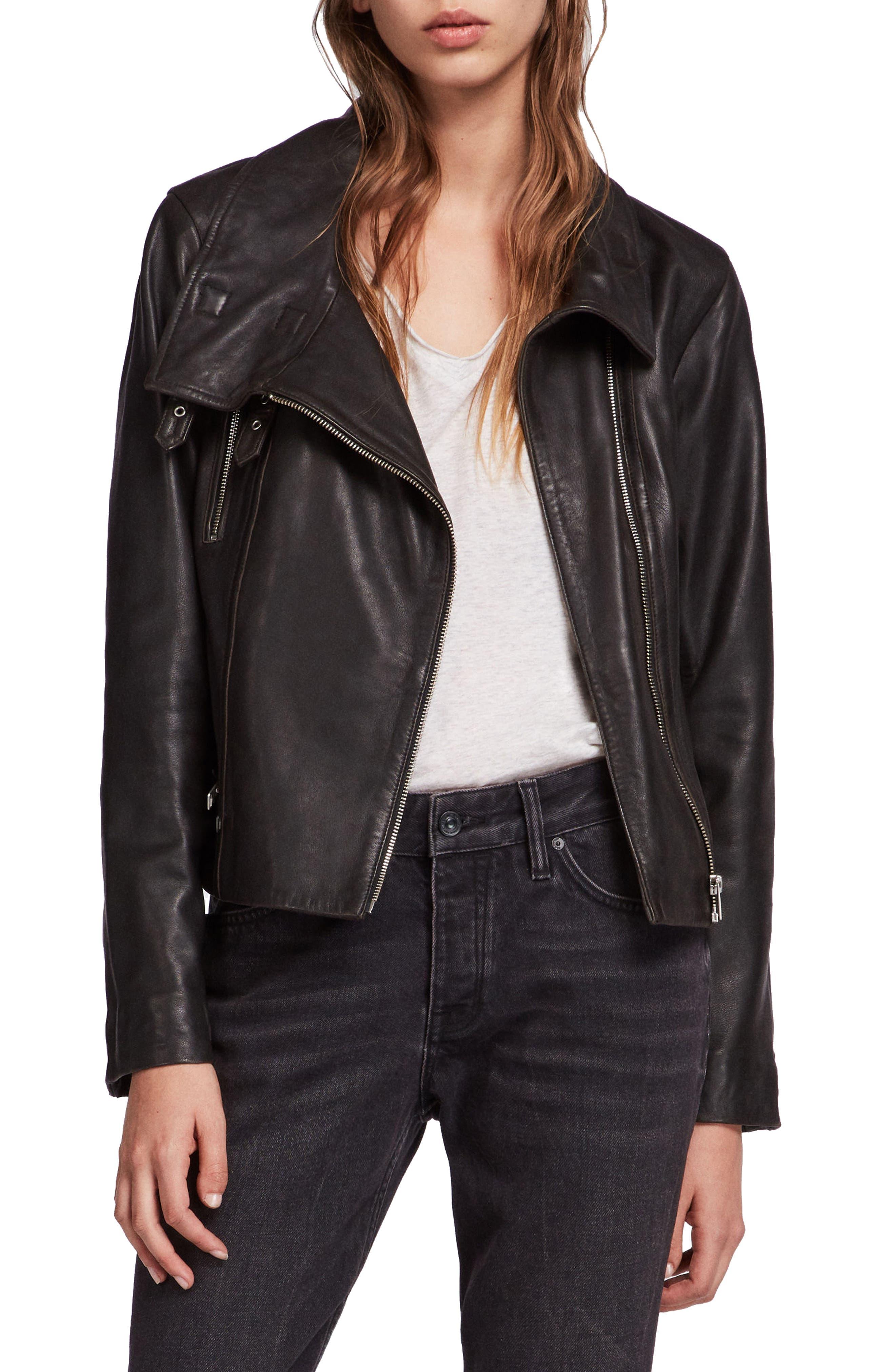 ALLSAINTS, Bales Leather Biker Jacket, Main thumbnail 1, color, BLACK