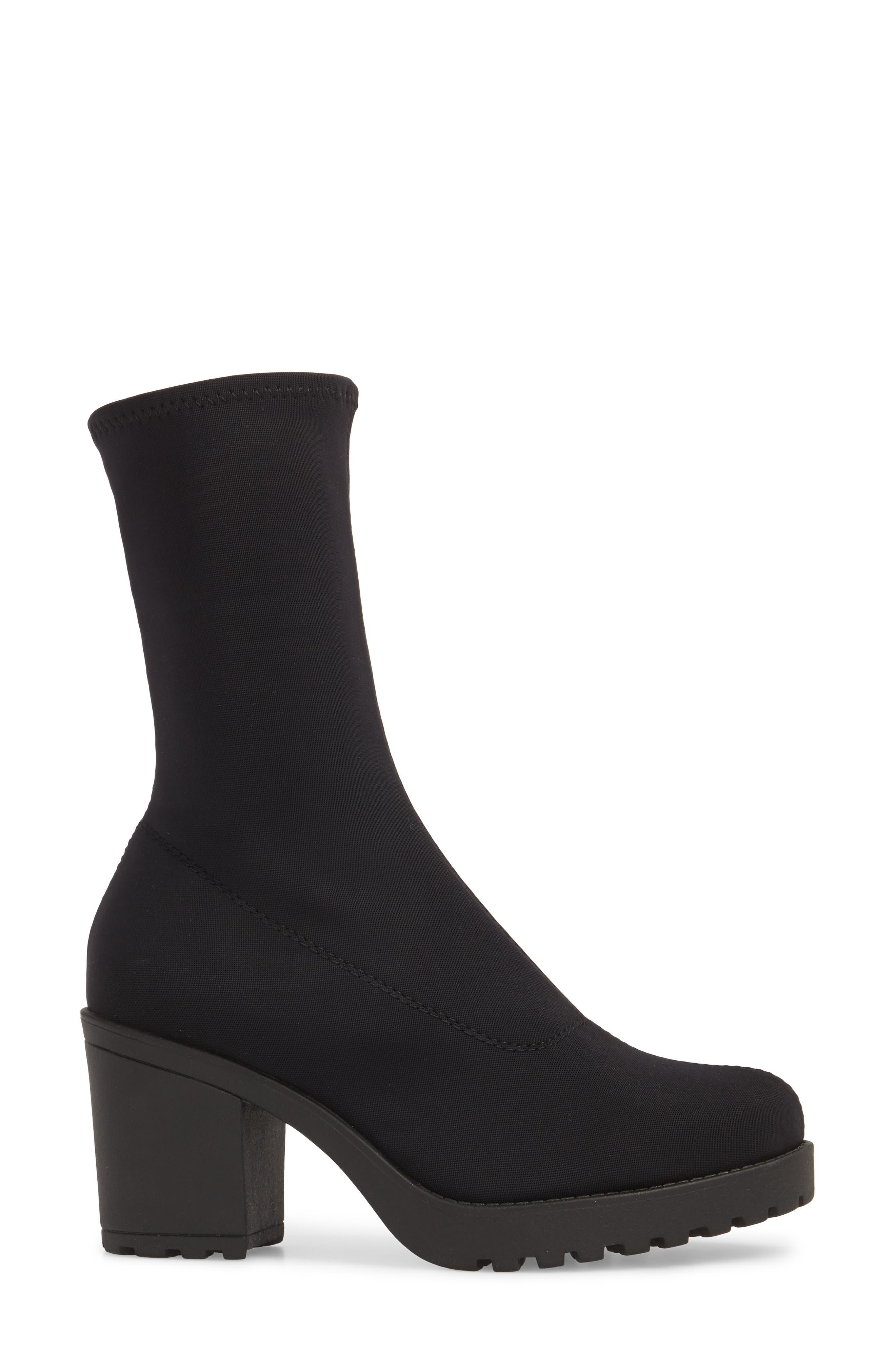 VAGABOND, Shoemakers Grace Platform Bootie, Alternate thumbnail 3, color, BLACK FABRIC
