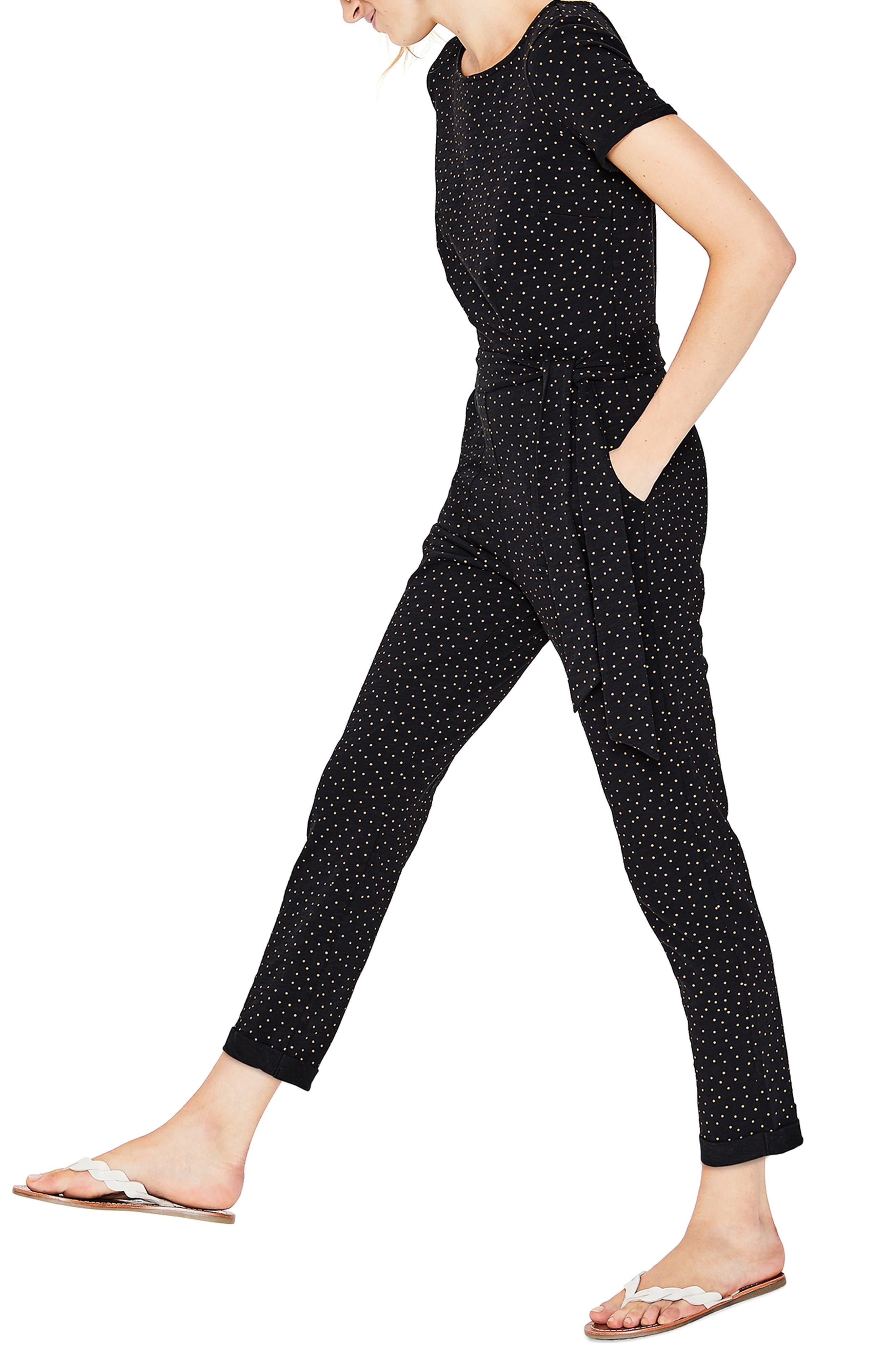 BODEN, Caitlin Jersey Jumpsuit, Alternate thumbnail 3, color, BLACK/ SOFT TRUFFLE SPOT