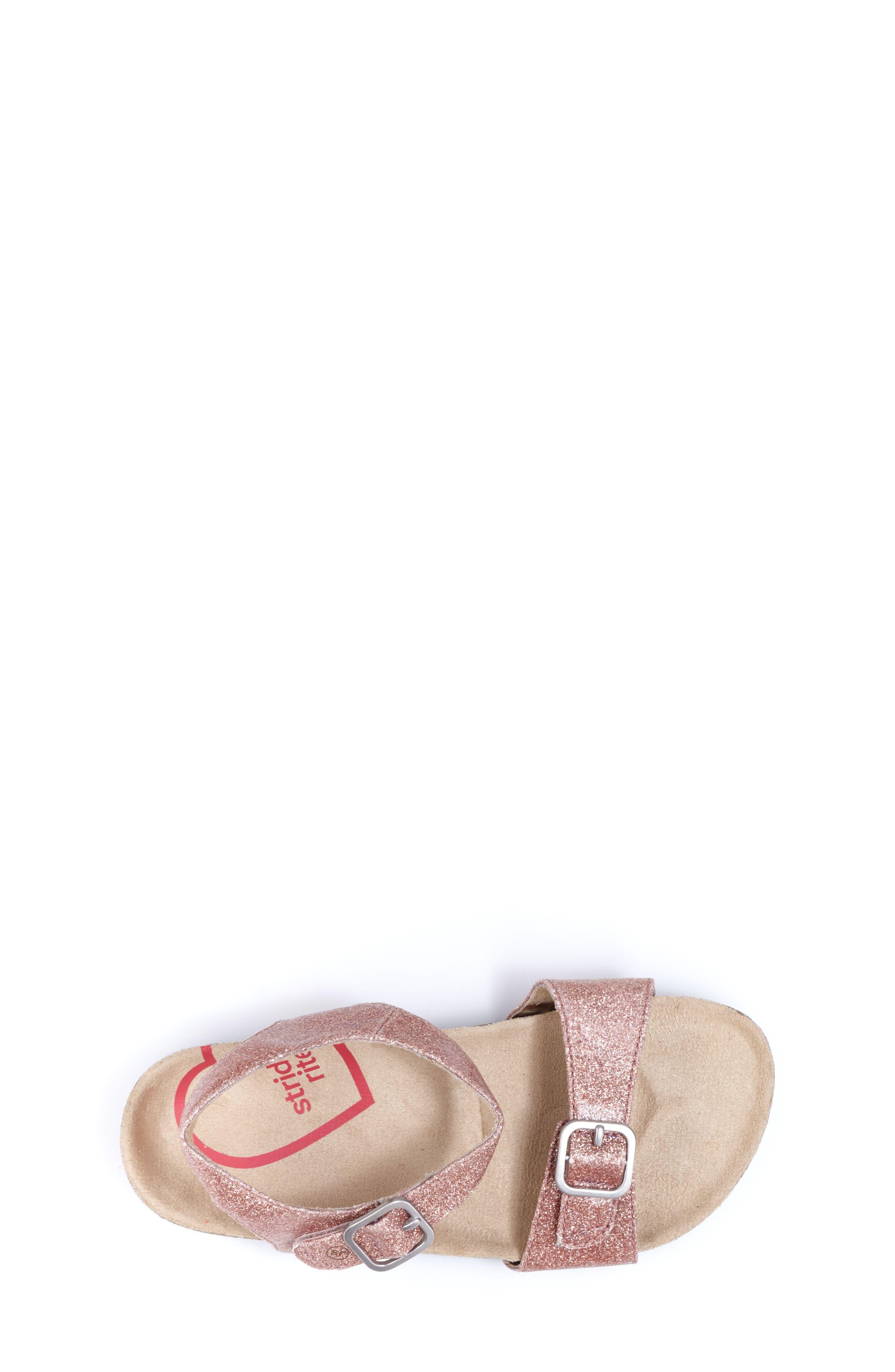 STRIDE RITE, Zuly Glitter Sandal, Alternate thumbnail 4, color, ROSE GOLD
