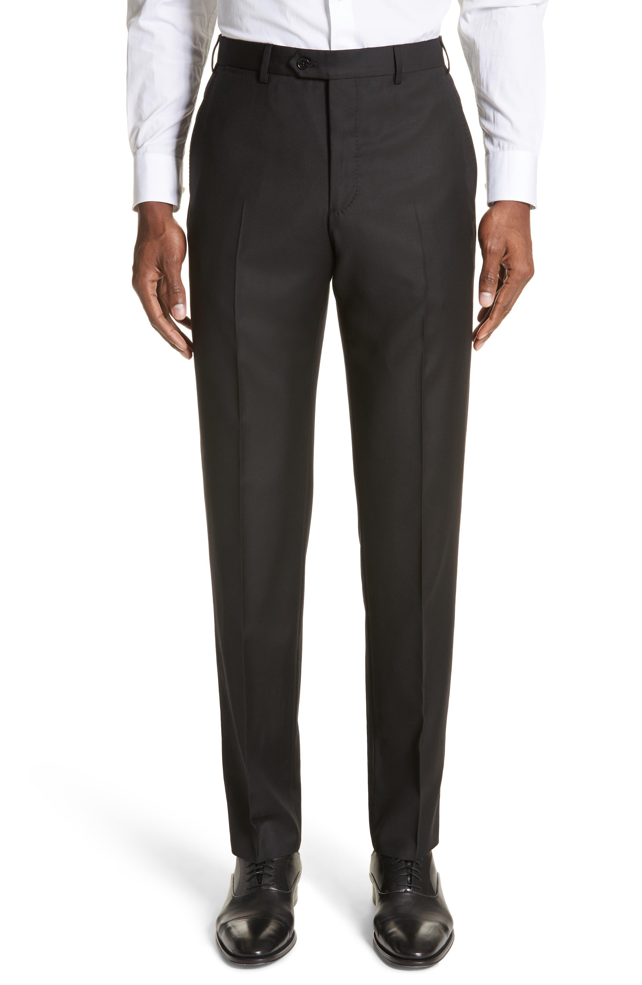 EMPORIO ARMANI, Trim Fit Solid Wool Suit, Alternate thumbnail 6, color, BLACK