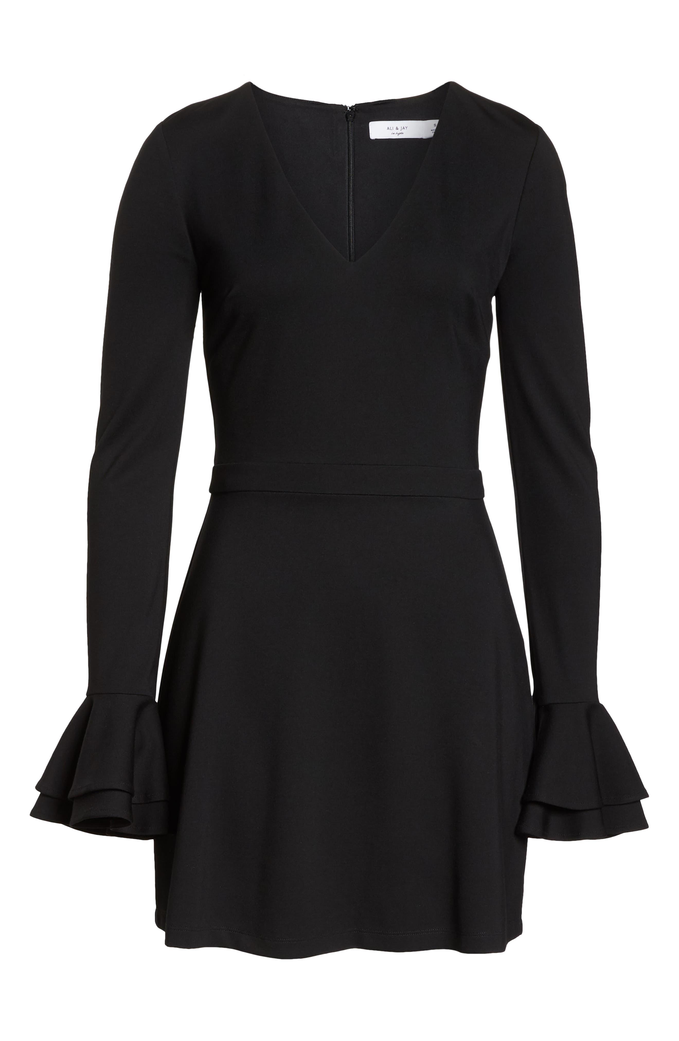 ALI & JAY, Still Waiting Fit & Flare Dress, Alternate thumbnail 7, color, BLACK