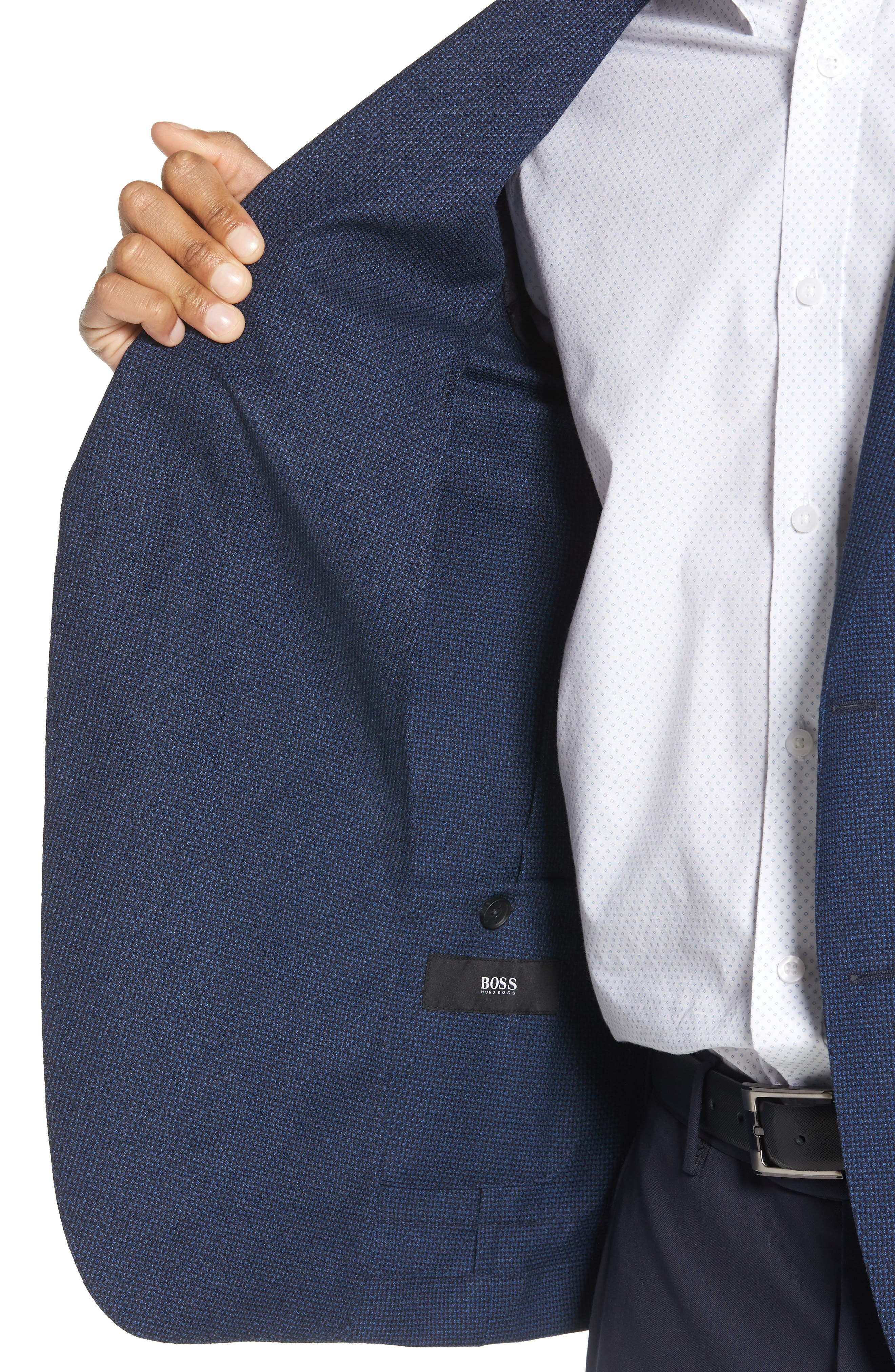 BOSS, Nold Slim Fit Wool Blazer, Alternate thumbnail 4, color, BLUE