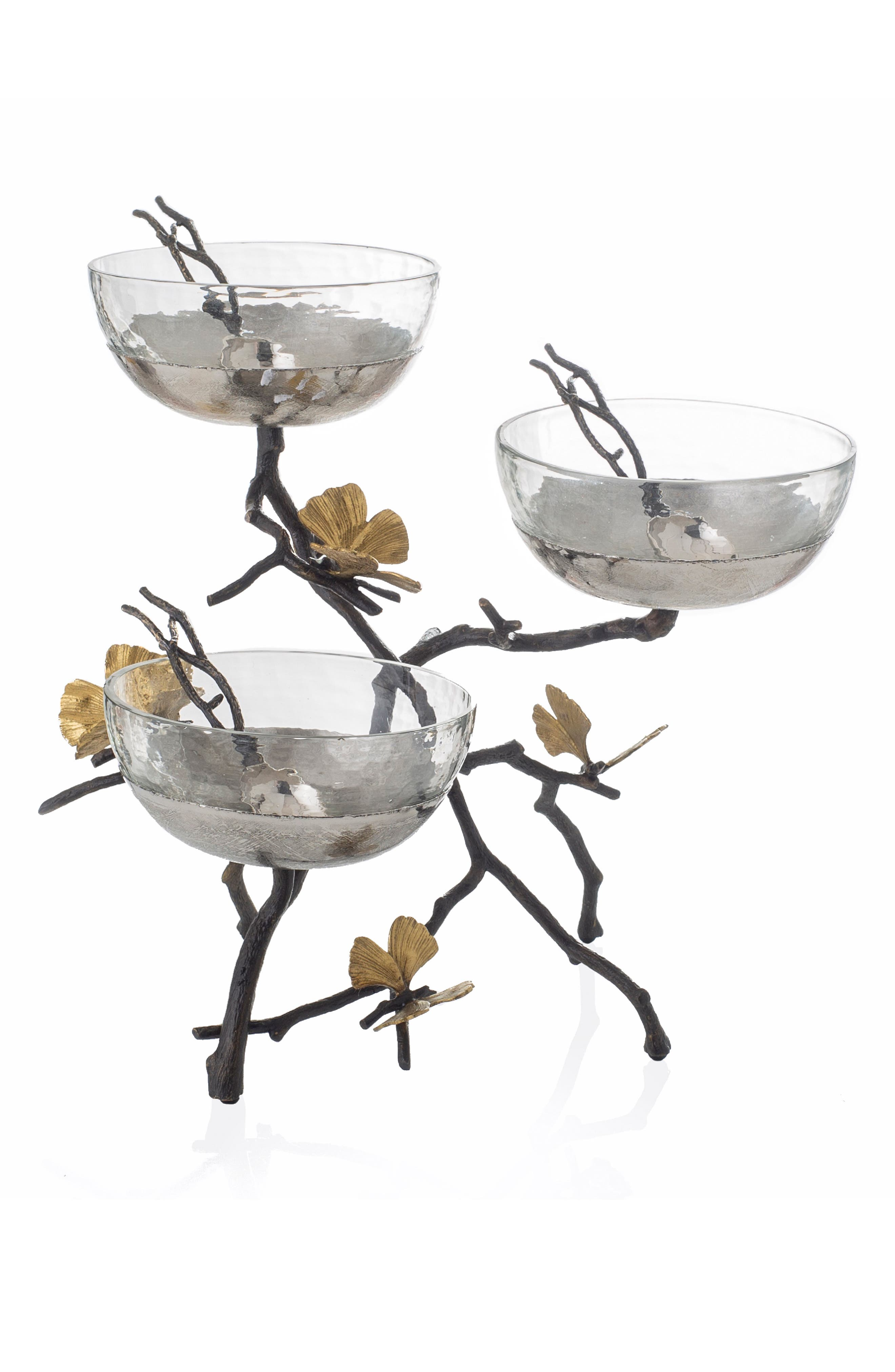 MICHAEL ARAM, Butterfly Ginkgo Triple Bowl & Spoon Set with Stand, Main thumbnail 1, color, SILVER