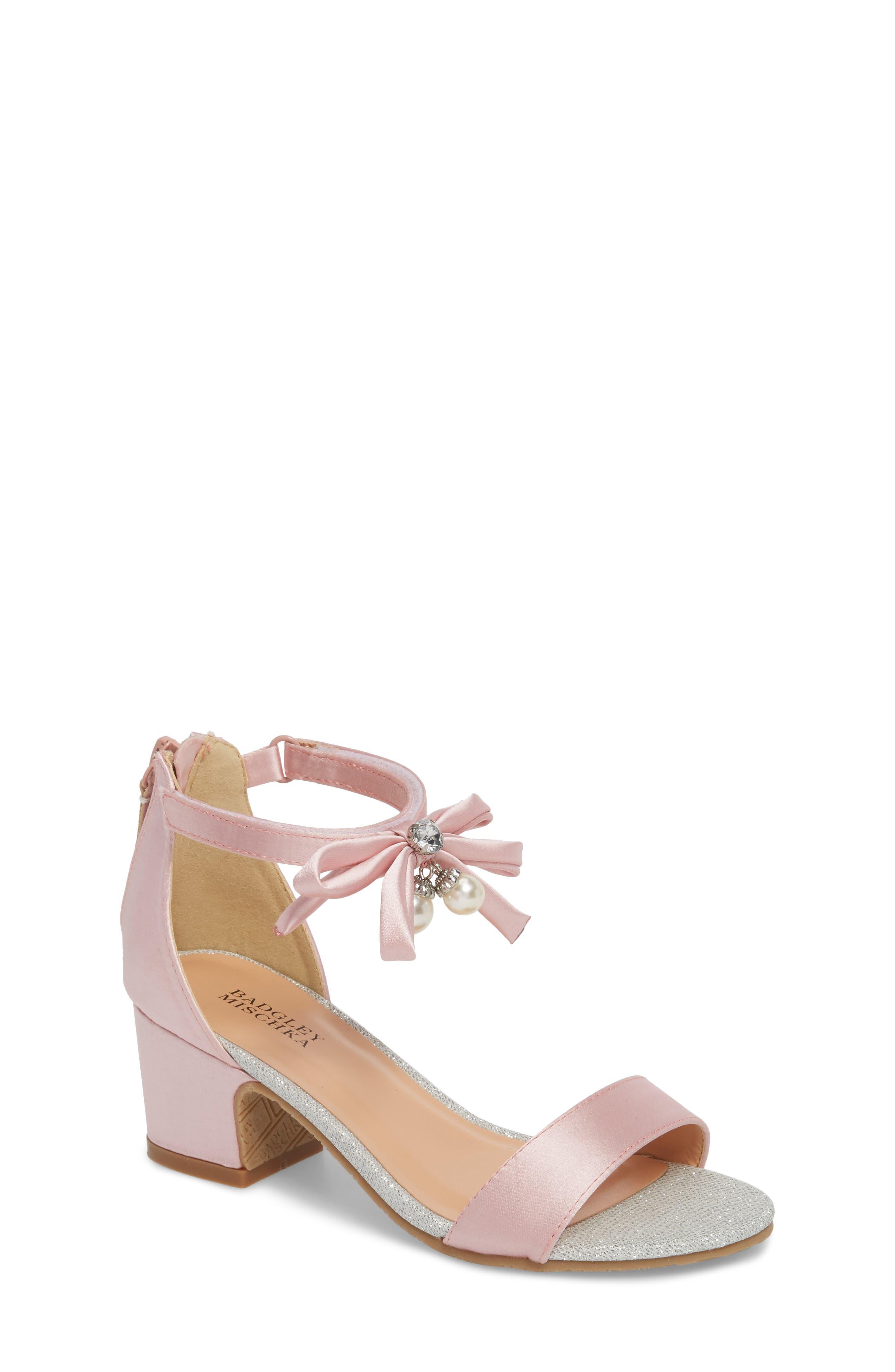 BADGLEY MISCHKA COLLECTION, Badgley Mischka Pernia Embellished Sandal, Main thumbnail 1, color, PINK/ SILVER